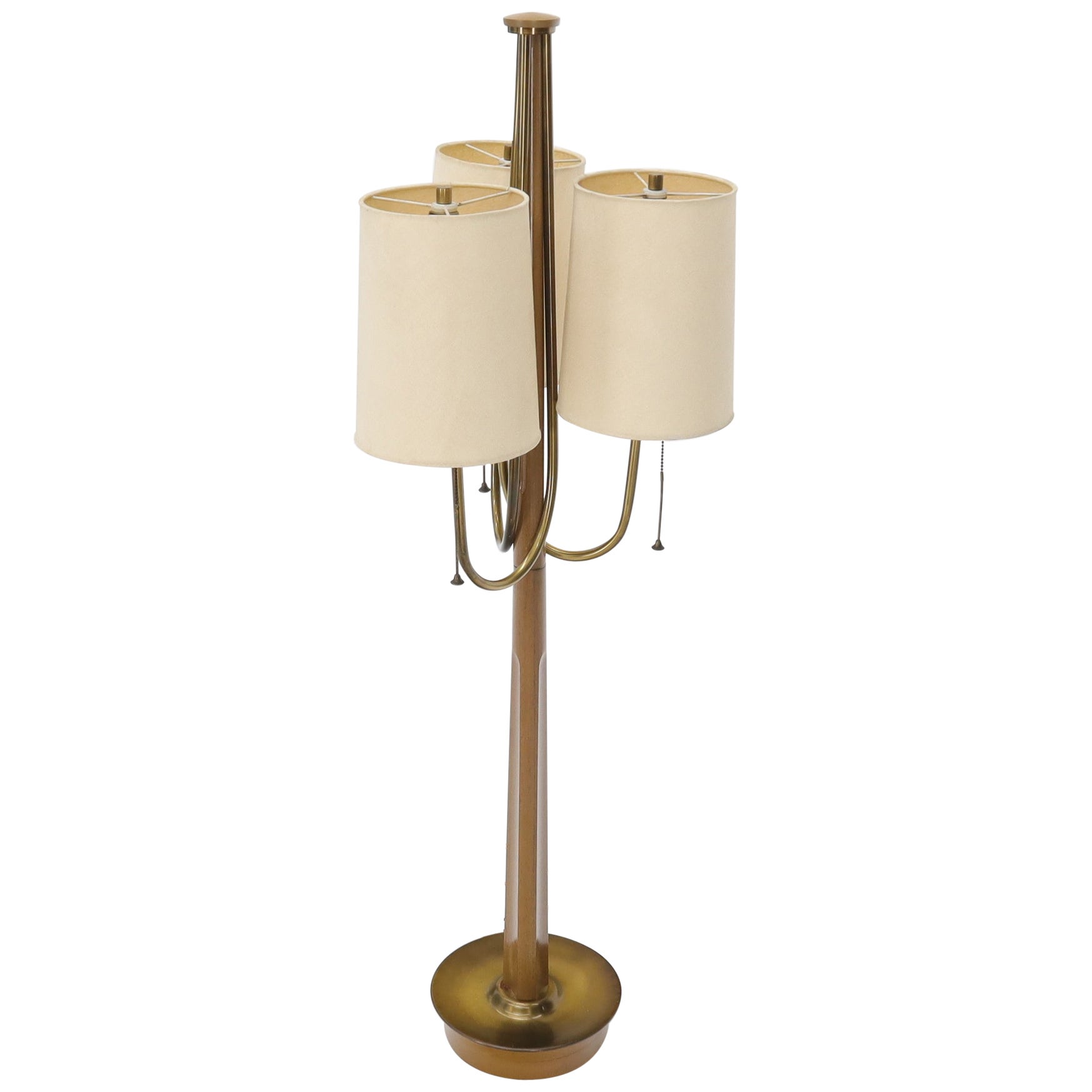 Large Mid-Century Modern Three arms Table or Floor Lamp with Cylinder Shades