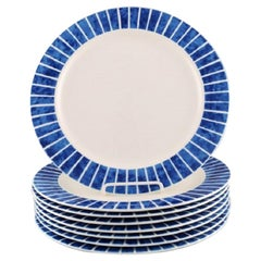 Jackie Lynd for Duka, Eight Plates in Glazed Stoneware with Blue Stripes
