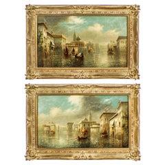 Antique Pair Oil on Canvas Venetian Paintings by James Salt, 19th Century