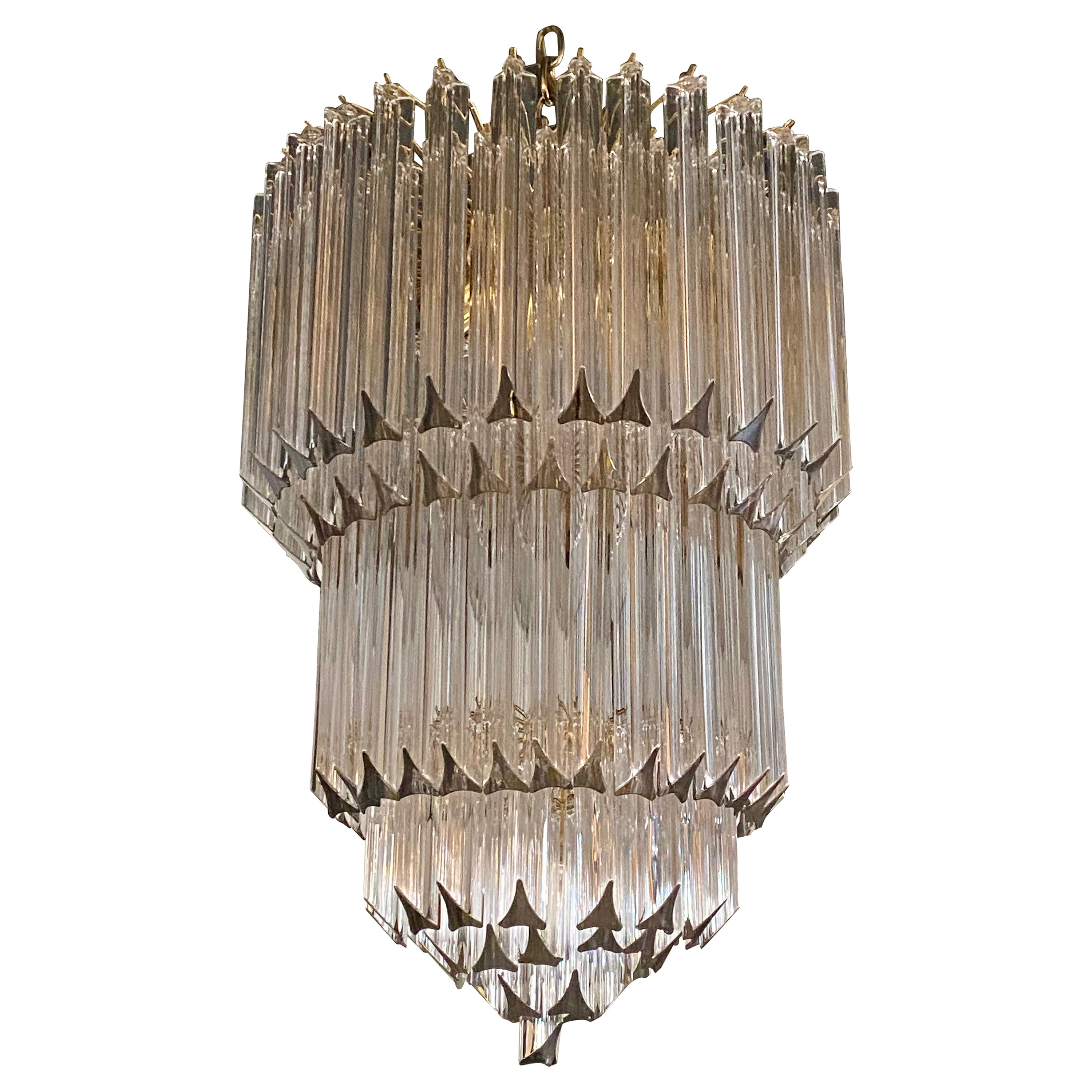 Venini Camer Glass and Brass Tiered Waterfall Chandelier, Italy