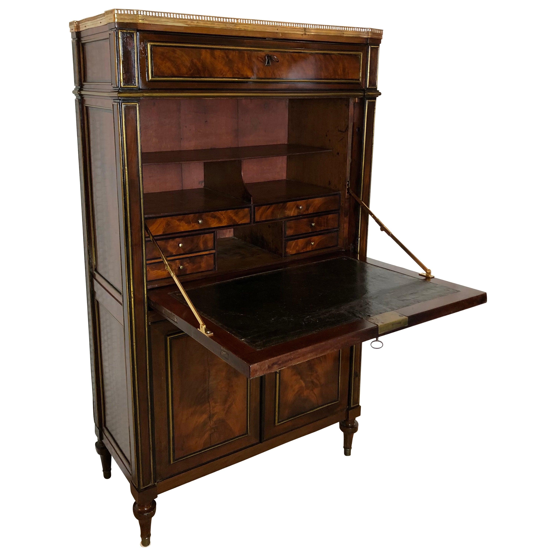 18th Century French Louis XVI Flame Mahogany Secretary or Drop Leaf Desk