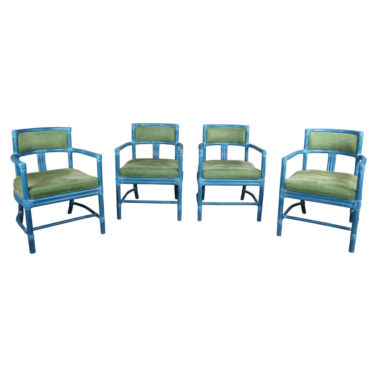 4 McGuire Manhattan Bamboo Boho Chic Modern Club Lounge Dining Accent Armchairs