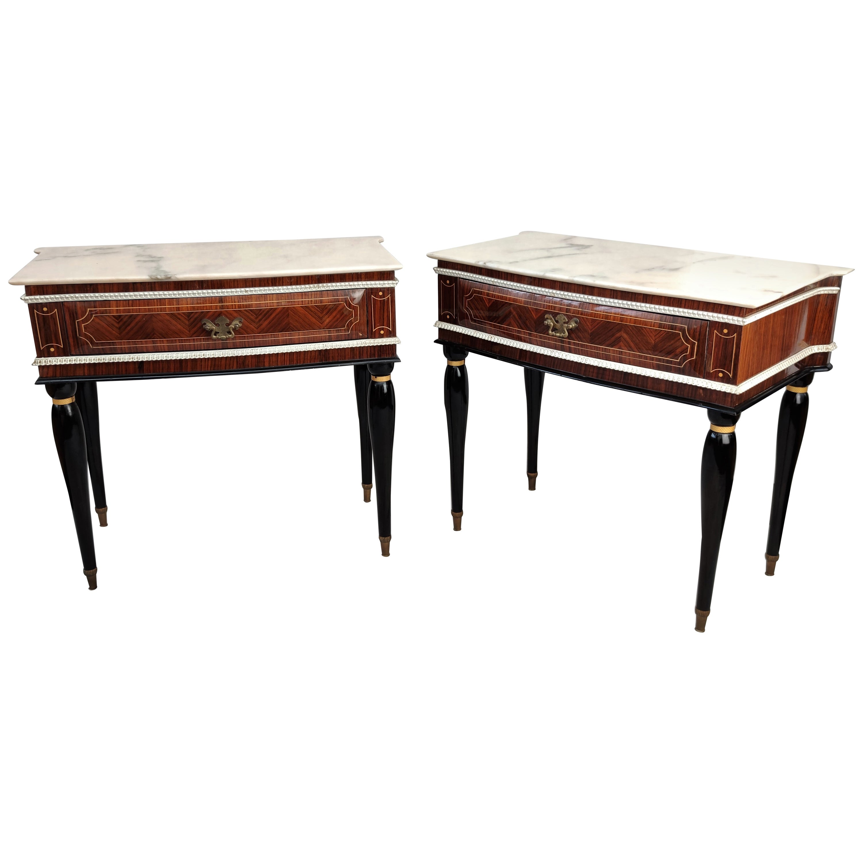 Pair of Italian Midcentury Art Deco Nightstands Bedside Tables Walnut Marble