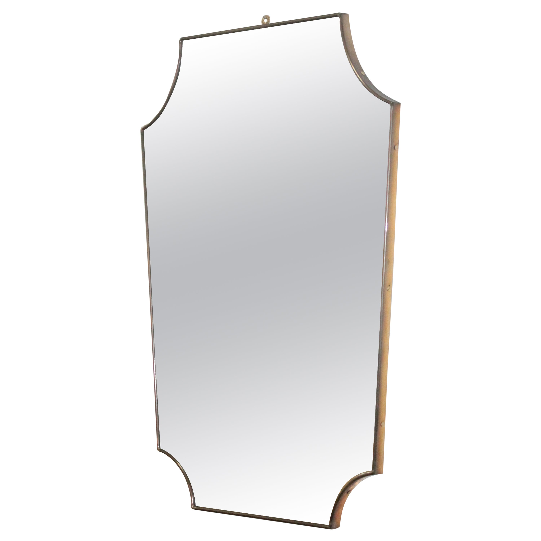 Midcentury Brass Italian Mirror in the Style of Gio Ponti