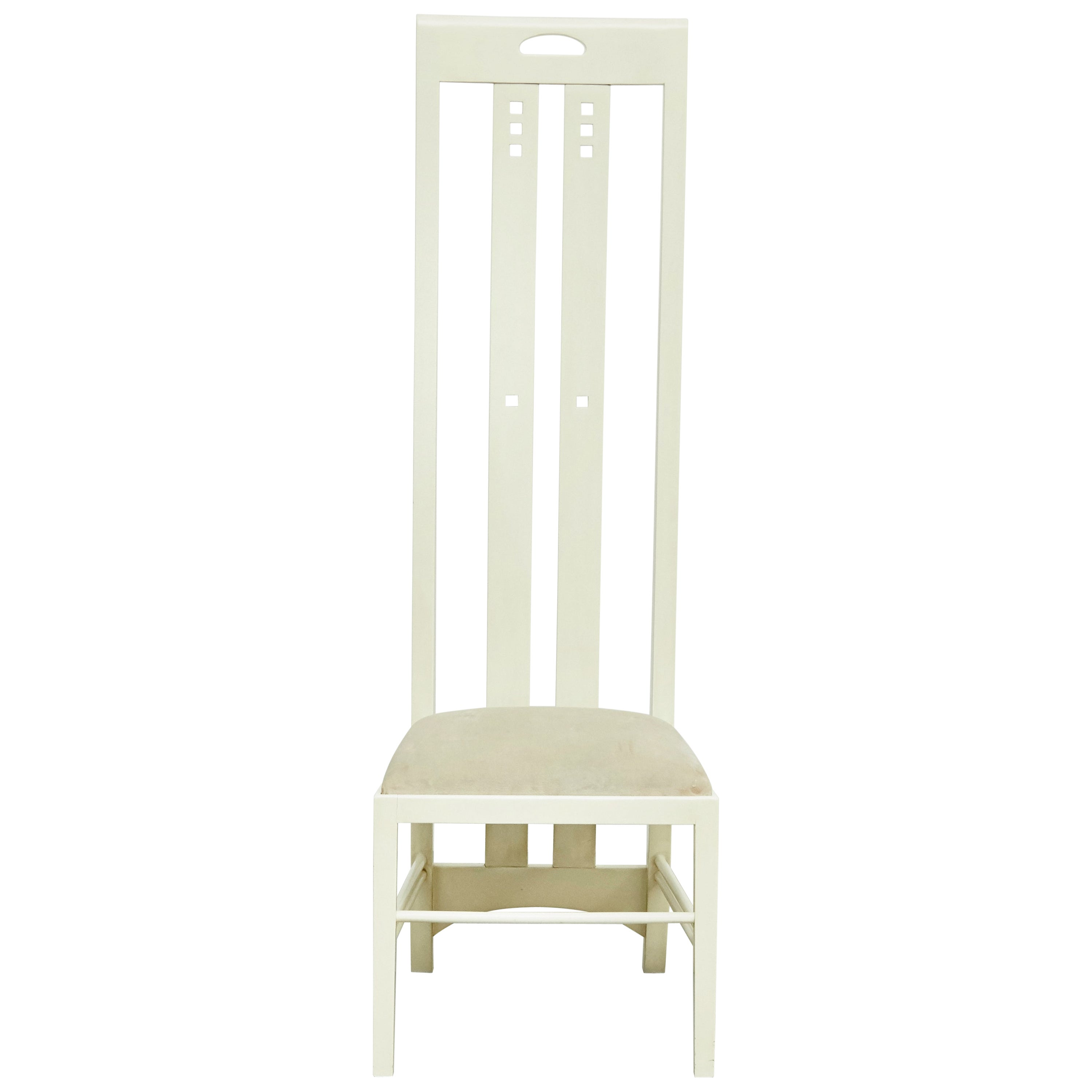 Charles Rennie Mackintosh White Lacquered Chair, circa 1970