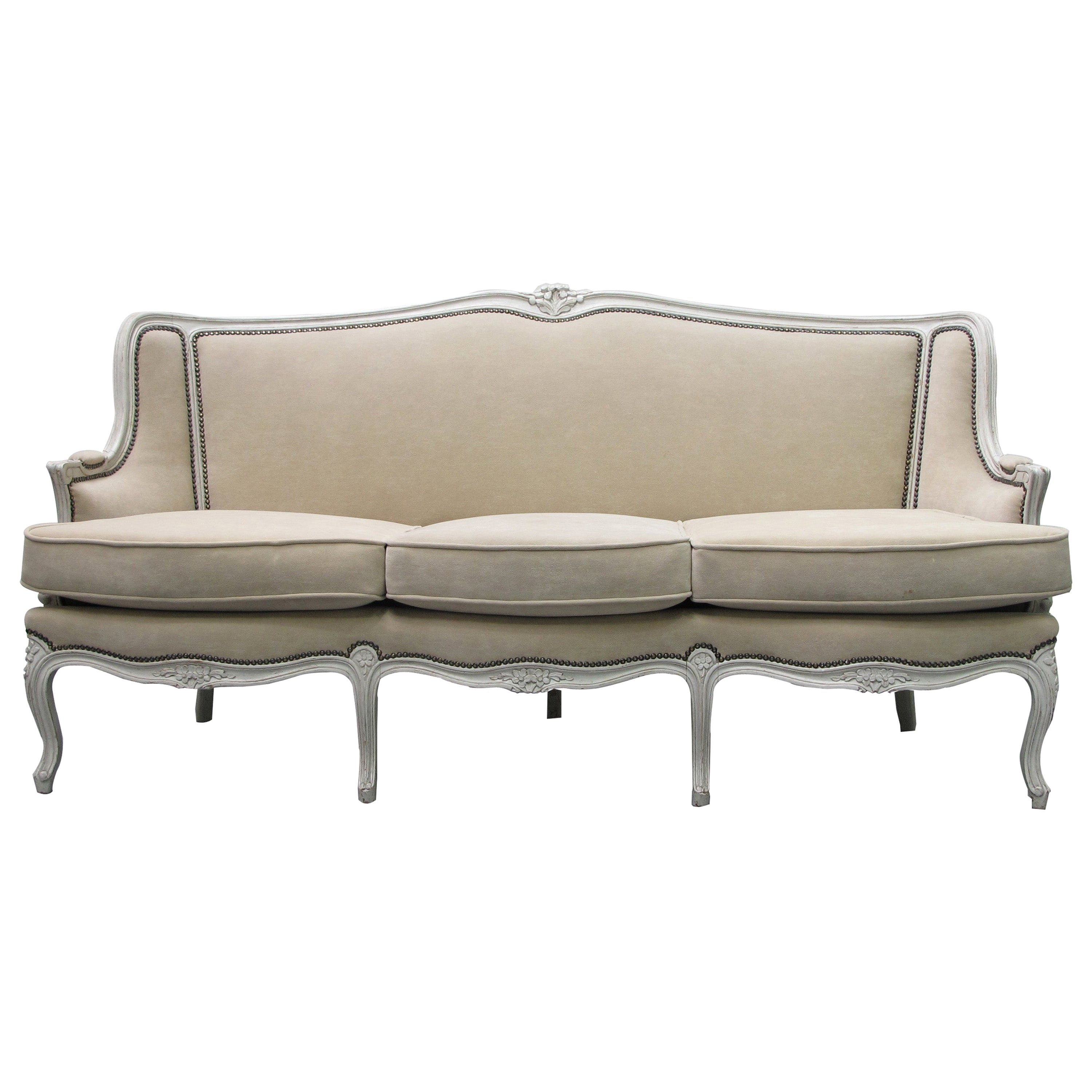 Early 20th Century French Three-Seat Sofa, Louis XV Style with Painted Frame