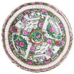 Chinoiserie Famille Rose Pink Pierced Ceramic Bowl with Botanical Motif