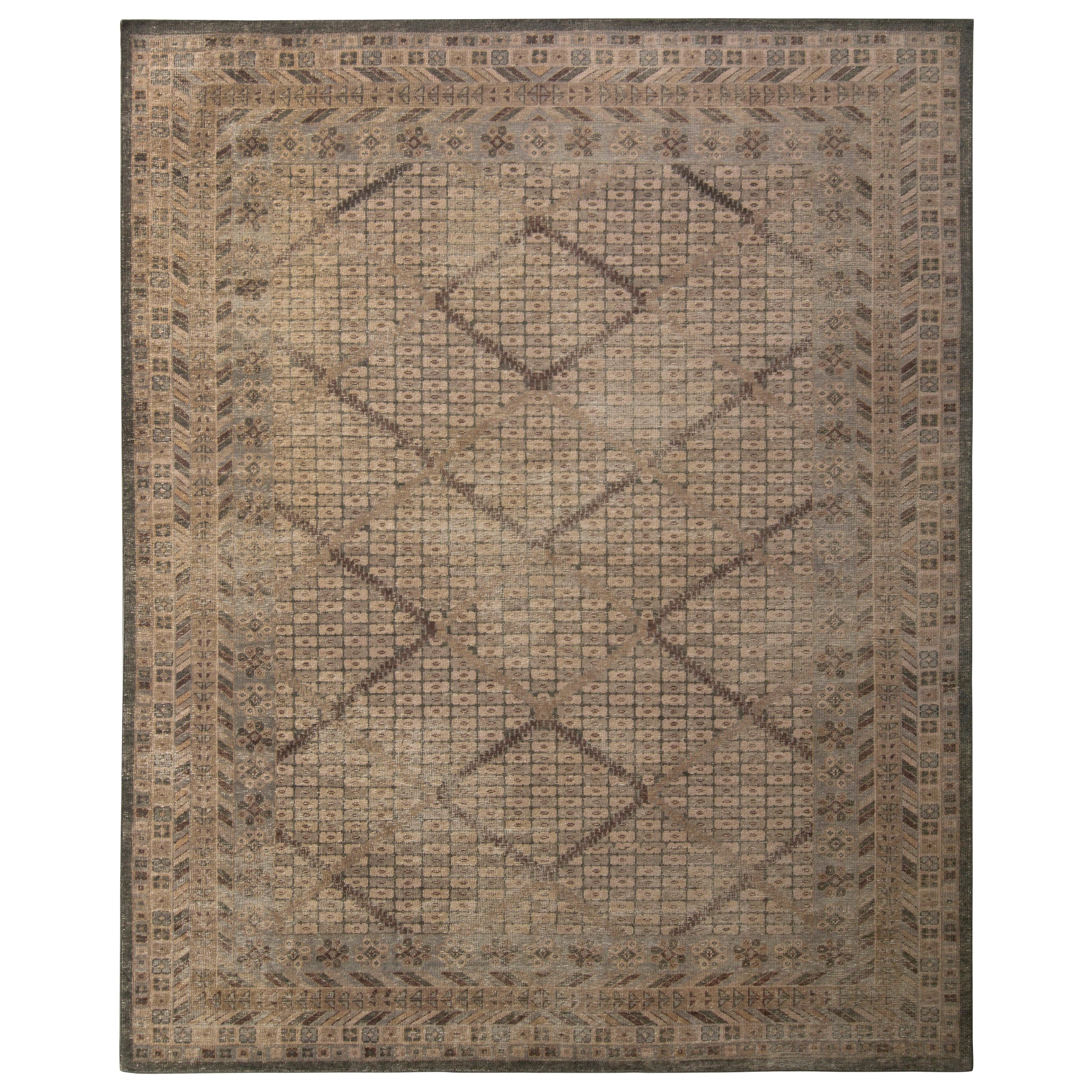 Hand Knotted Classic Rug Beige-Brown Blue Pattern by Rug & Kilim