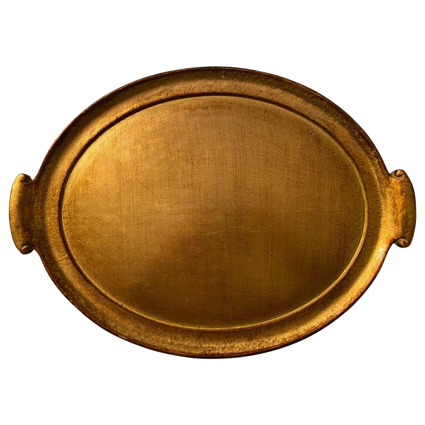 Vietri Florentine Wooden Accesories Handled Gold Leaf Medium Oval Tray