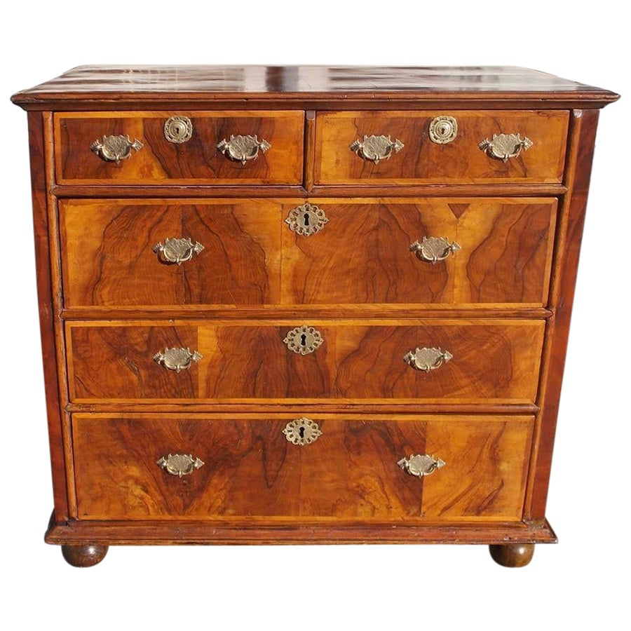 English Queen Anne Burl Walnut Inlaid Chest of Drawers with Bun Feet, Circa 1740