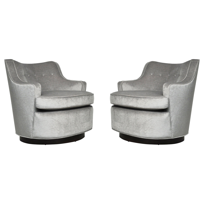 Pair of Dunbar Swivel Chairs by Edward Wormley