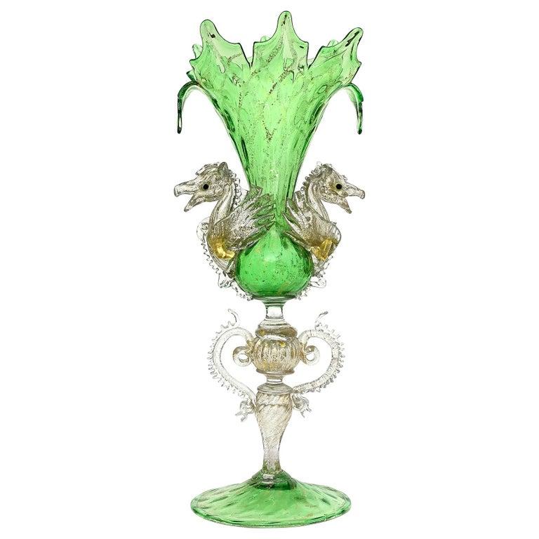 Venetian Antique Ornate Green Gold Flecks Pegasus Italian Art Glass Flower Vase For Sale