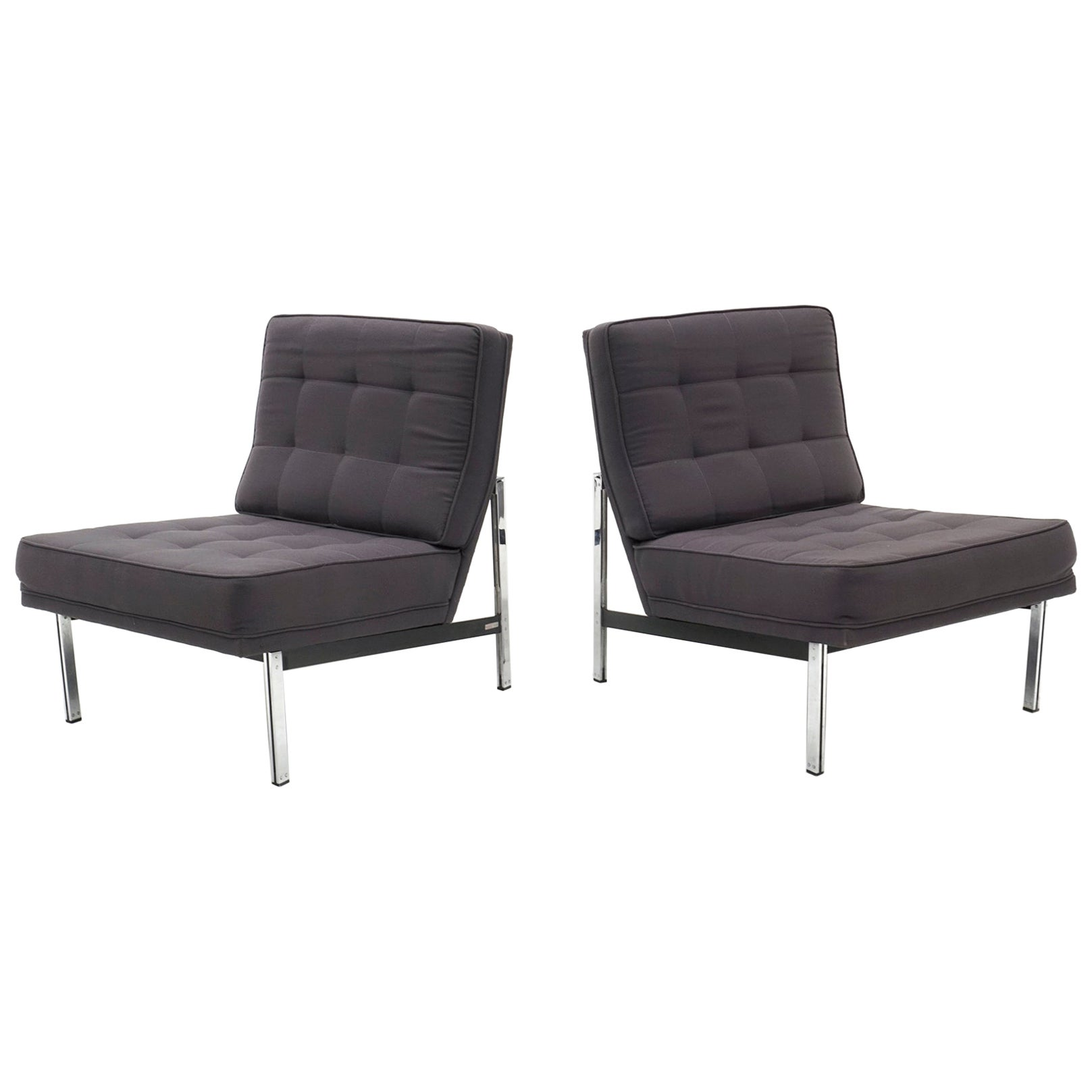 Pair of Armless Parallel Bar Lounge Chairs by Florence Knoll, Gray Fabric Chrome