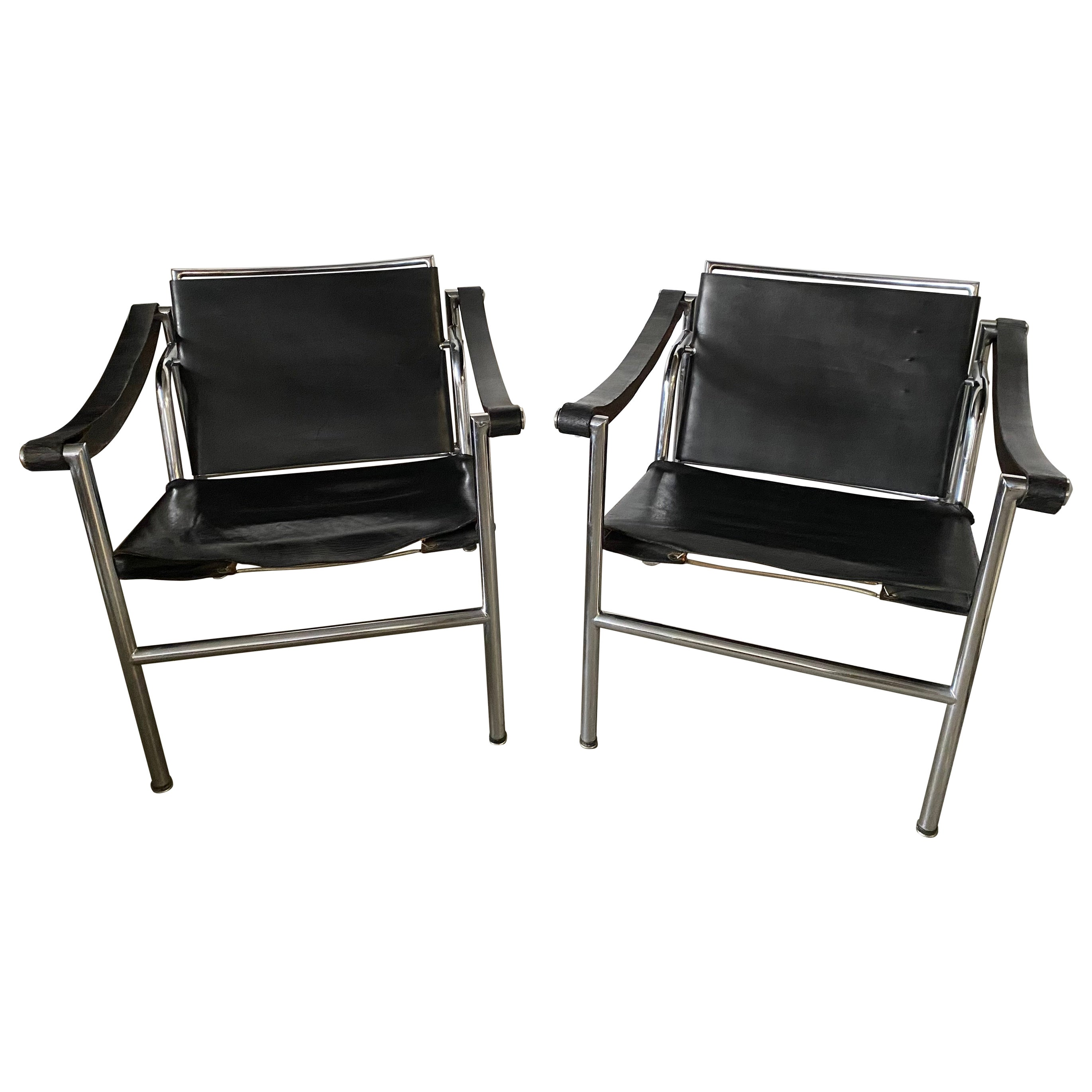 LC1 Style Leather Lounge Chairs, Pair