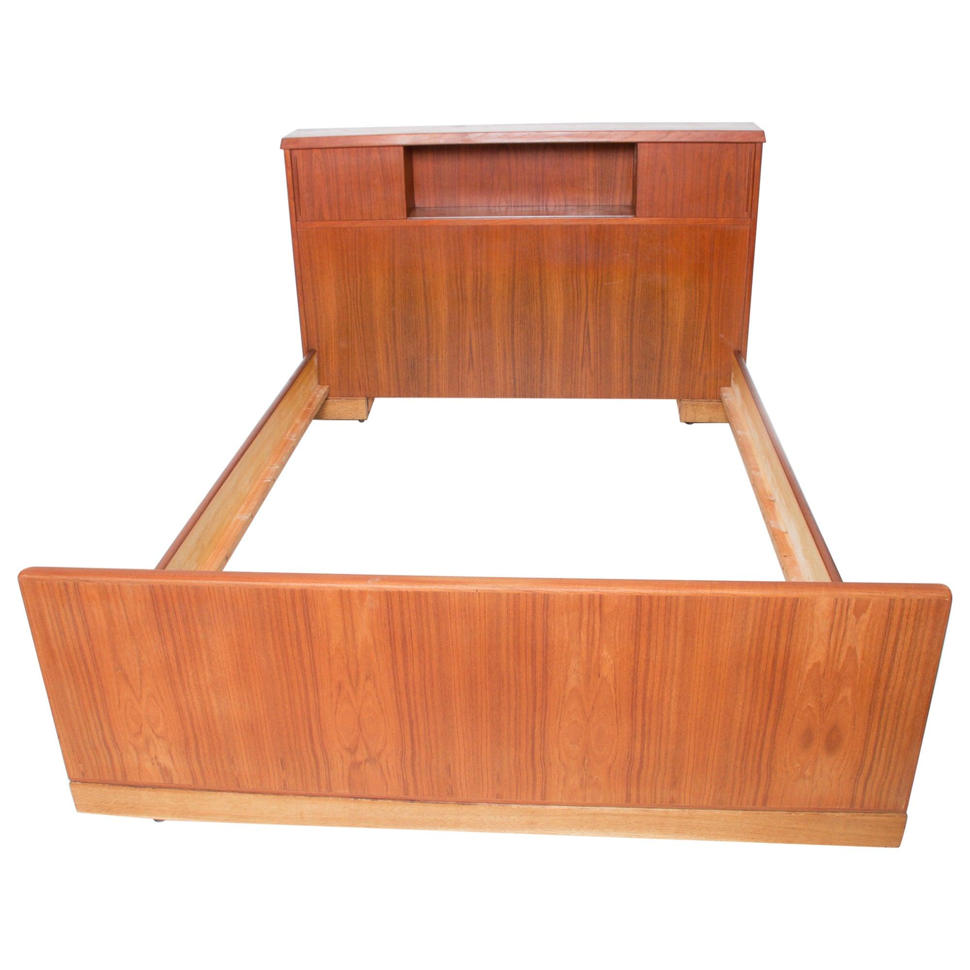 Scandinavian Modern Teak Wood Bed Thick Tall Headboard Design in Full 1960s
