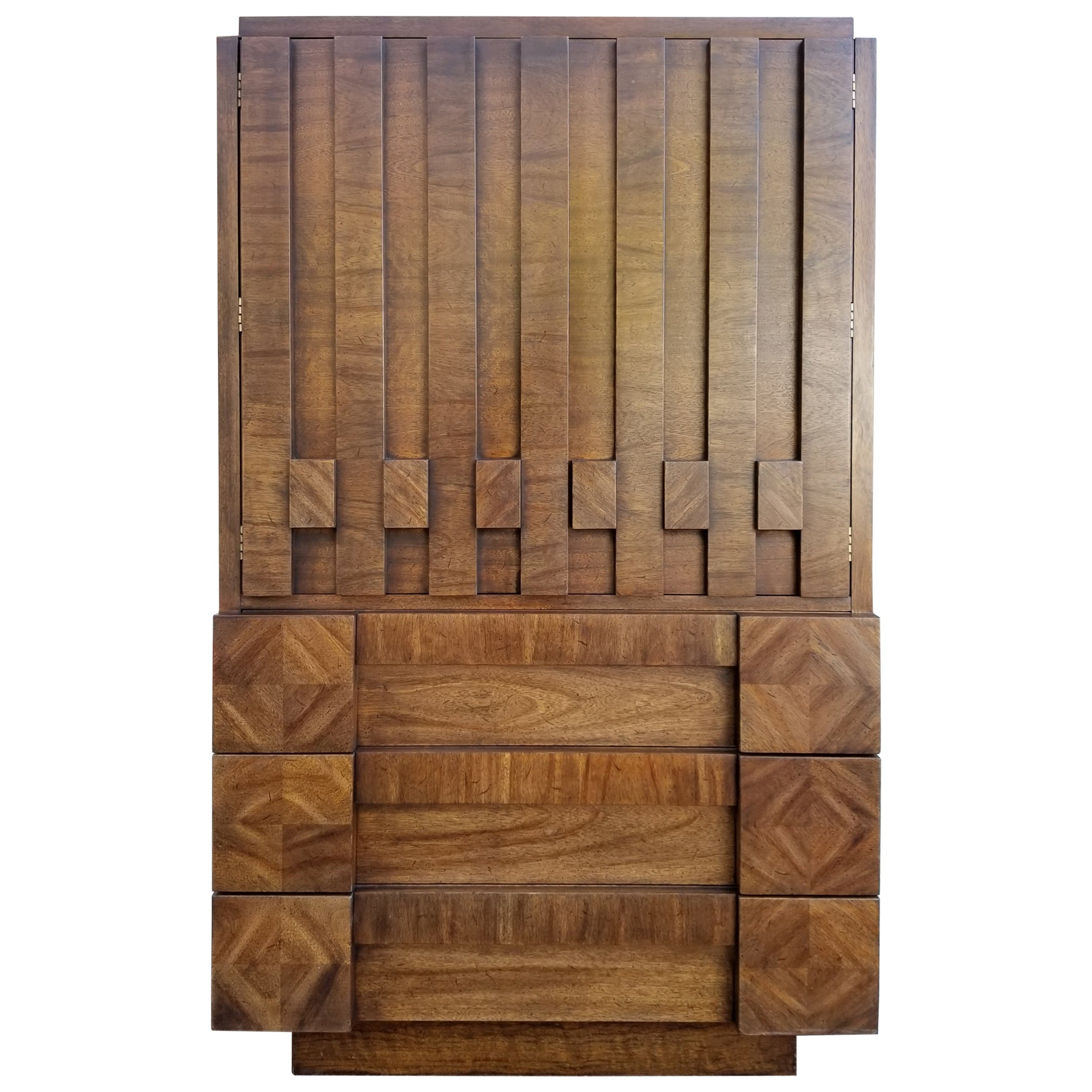 "Lane Furniture ""Staccato"" Brutalist Tall Dresser or Chiffonier"