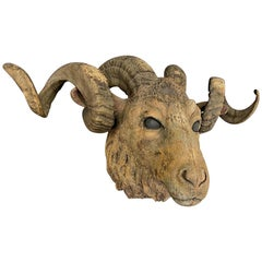 19th Century Carved Wood Ram Sculpture