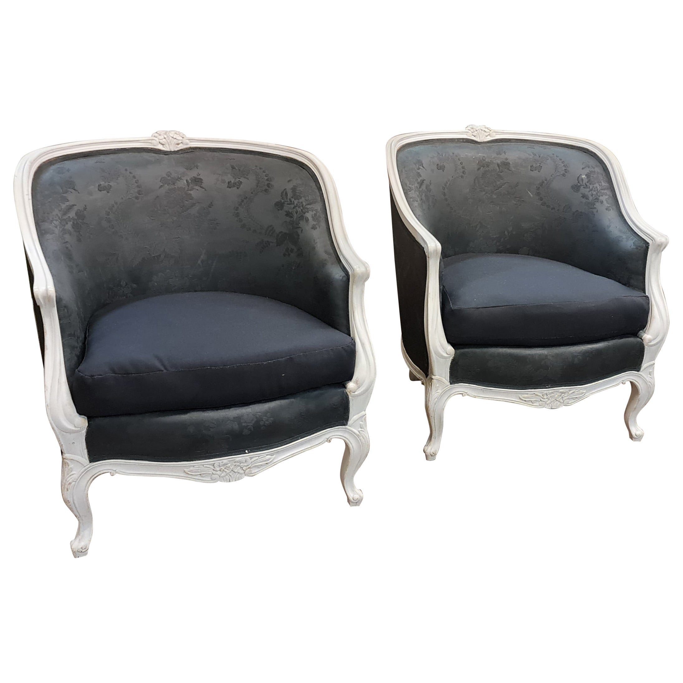 Swedish Gustavian Armchairs Pair of Club Tub White Color Early 1900s
