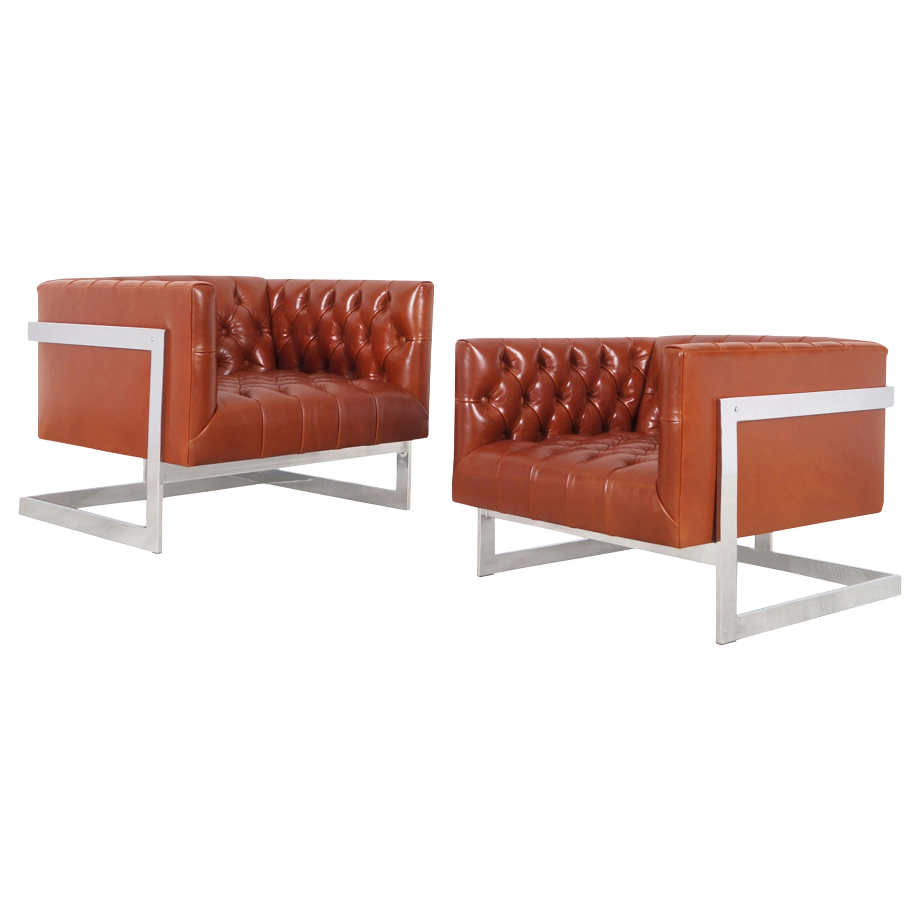"""Vintage Leather """"Cube"""" Lounge Chairs by Milo Baughman for Thayer Coggin"""