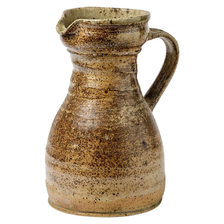 Brown Ceramic Stoneware Pitcher by Pierre Digan, 1970 Realized in La Borne