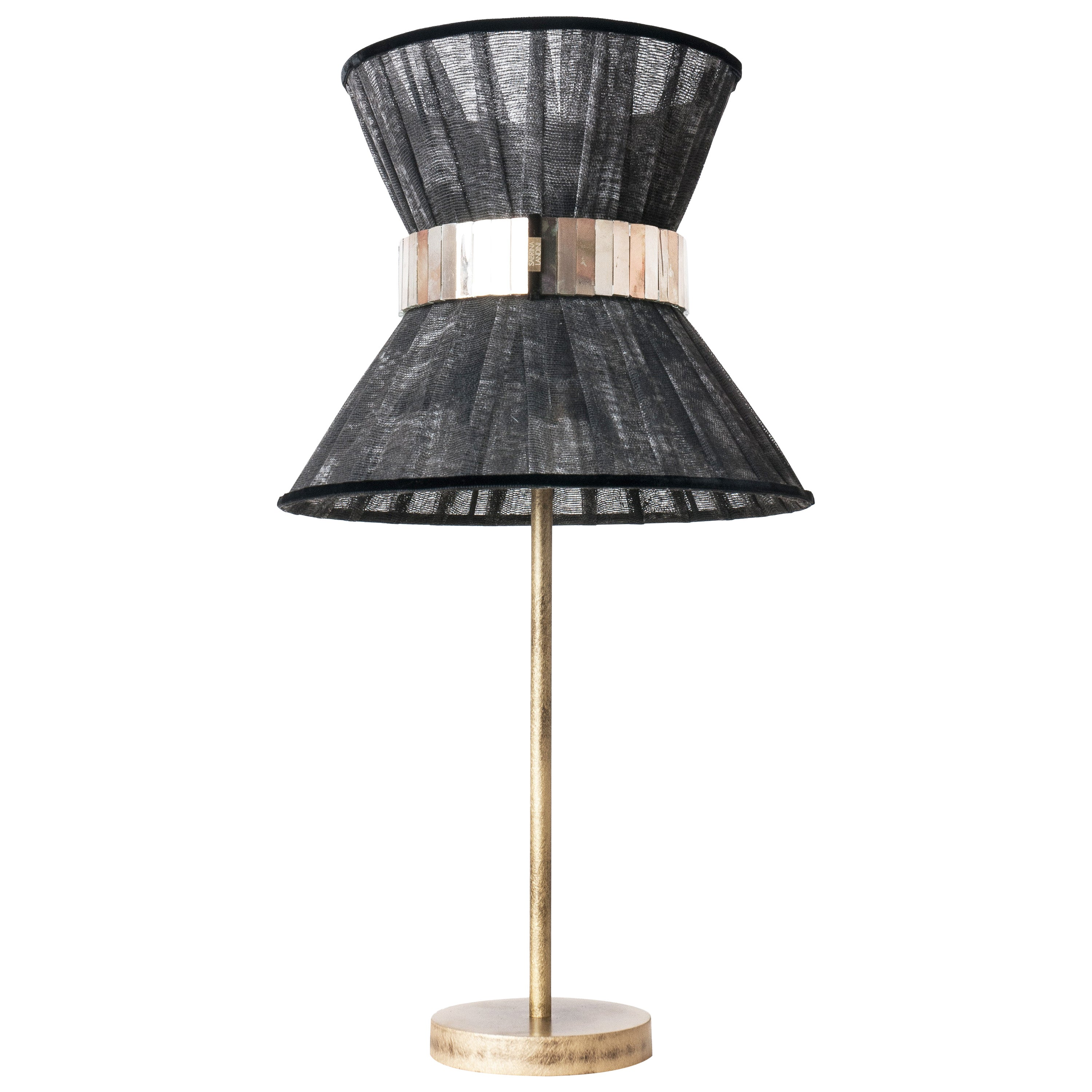 """""""Tiffany"""" Table Lamp 30 Black Chalky Painted, Antiqued Brass, Silvered Glass"""
