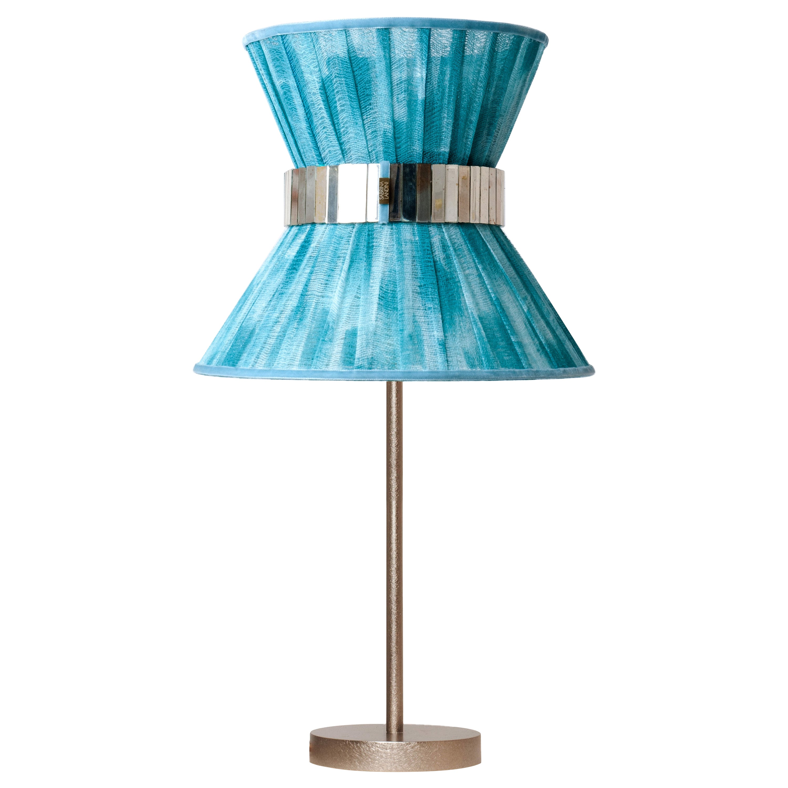 """""""Tiffany"""" Table Lamp 30 Azure Chalky Painted, Antiqued Brass, Silvered Glass"""