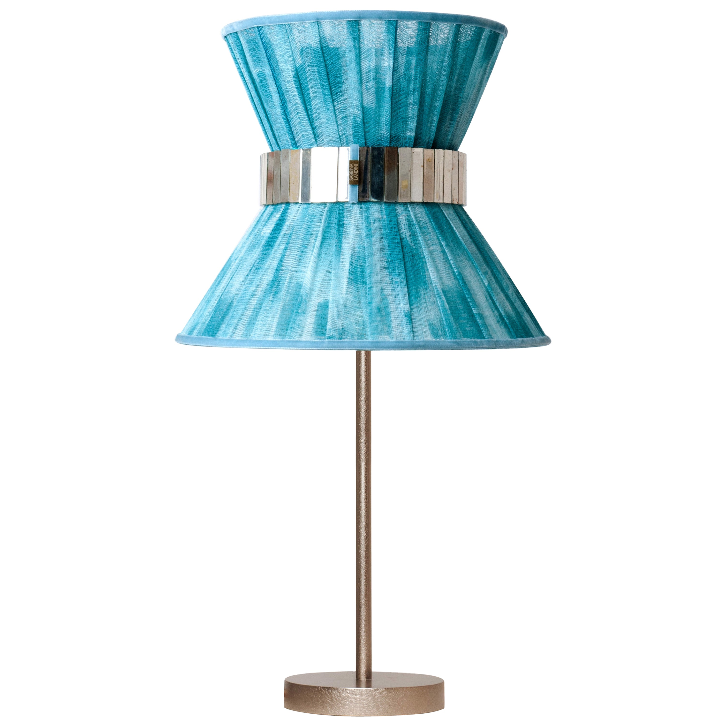 """""""Tiffany"""" Table Lamp 30 Azure Chalky Paint, Antiqued Brass, Silvered Glass"""