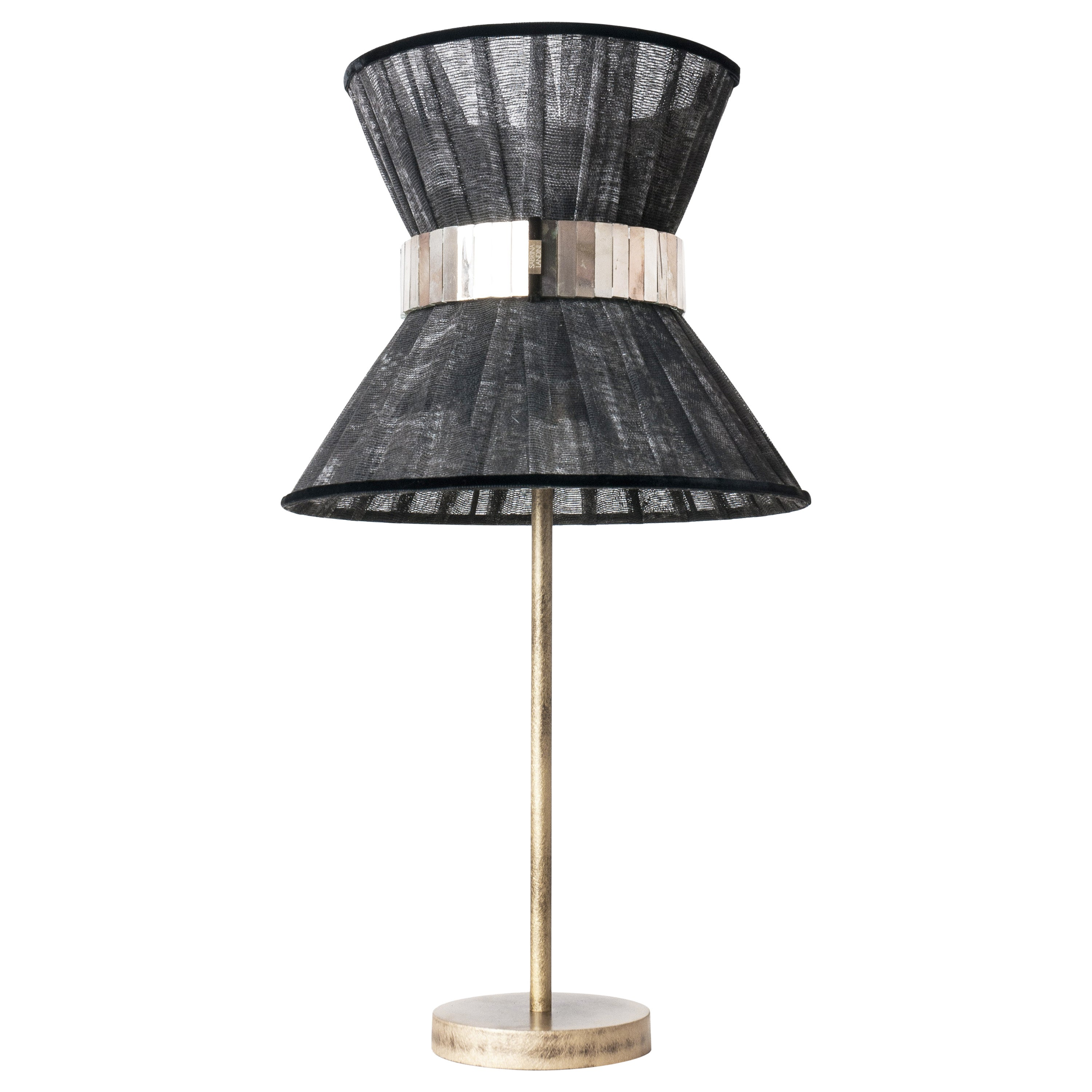 """""""Tiffany"""" Table Lamp 30 Black Chalky Paint, Antiqued Brass, Silvered Glass"""