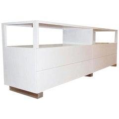 Cain Originals, Modern White Oak and Lucite Dresser with Milk Glass