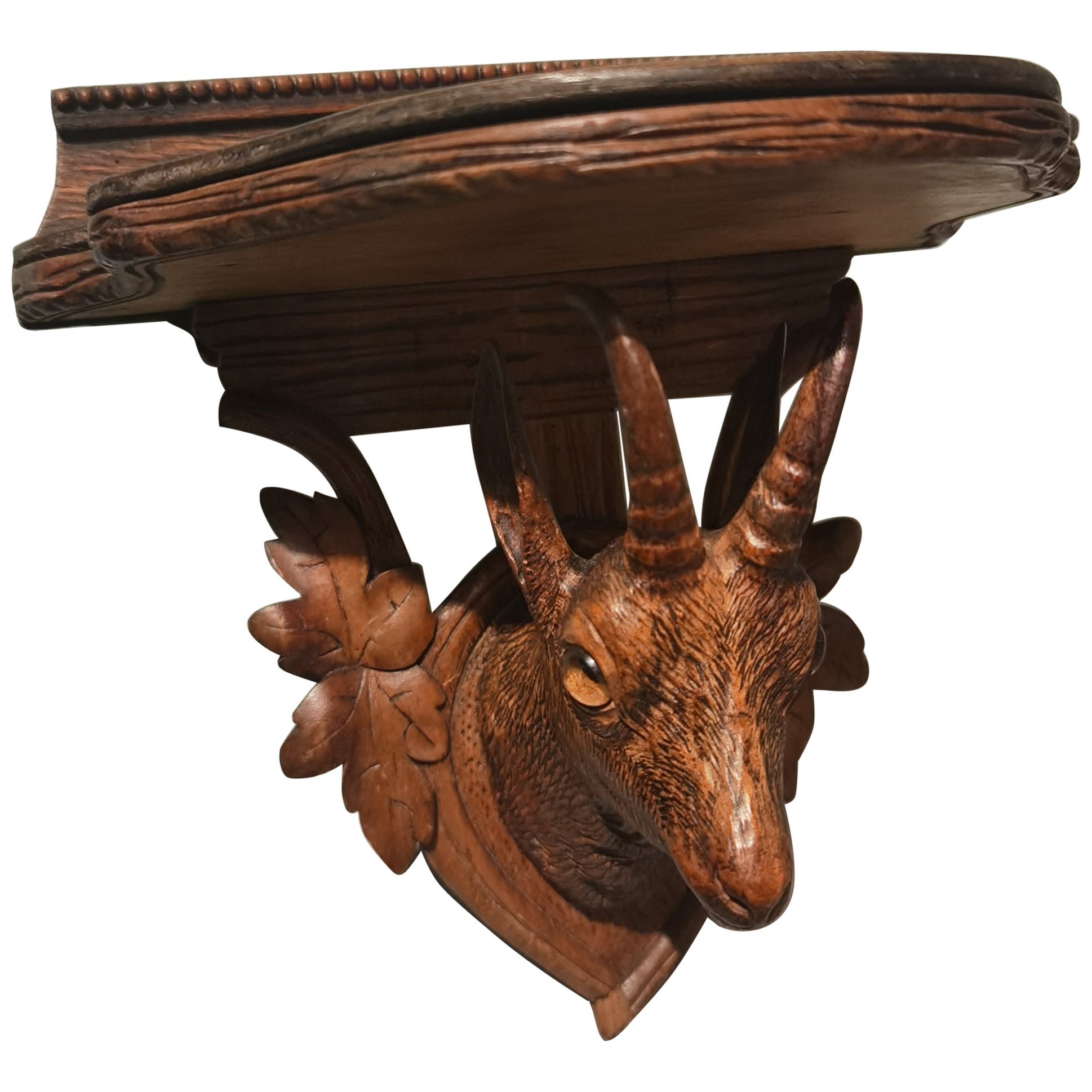 19th Century Black Forest Small Deer Head Throphy with Carved Wood Plaque