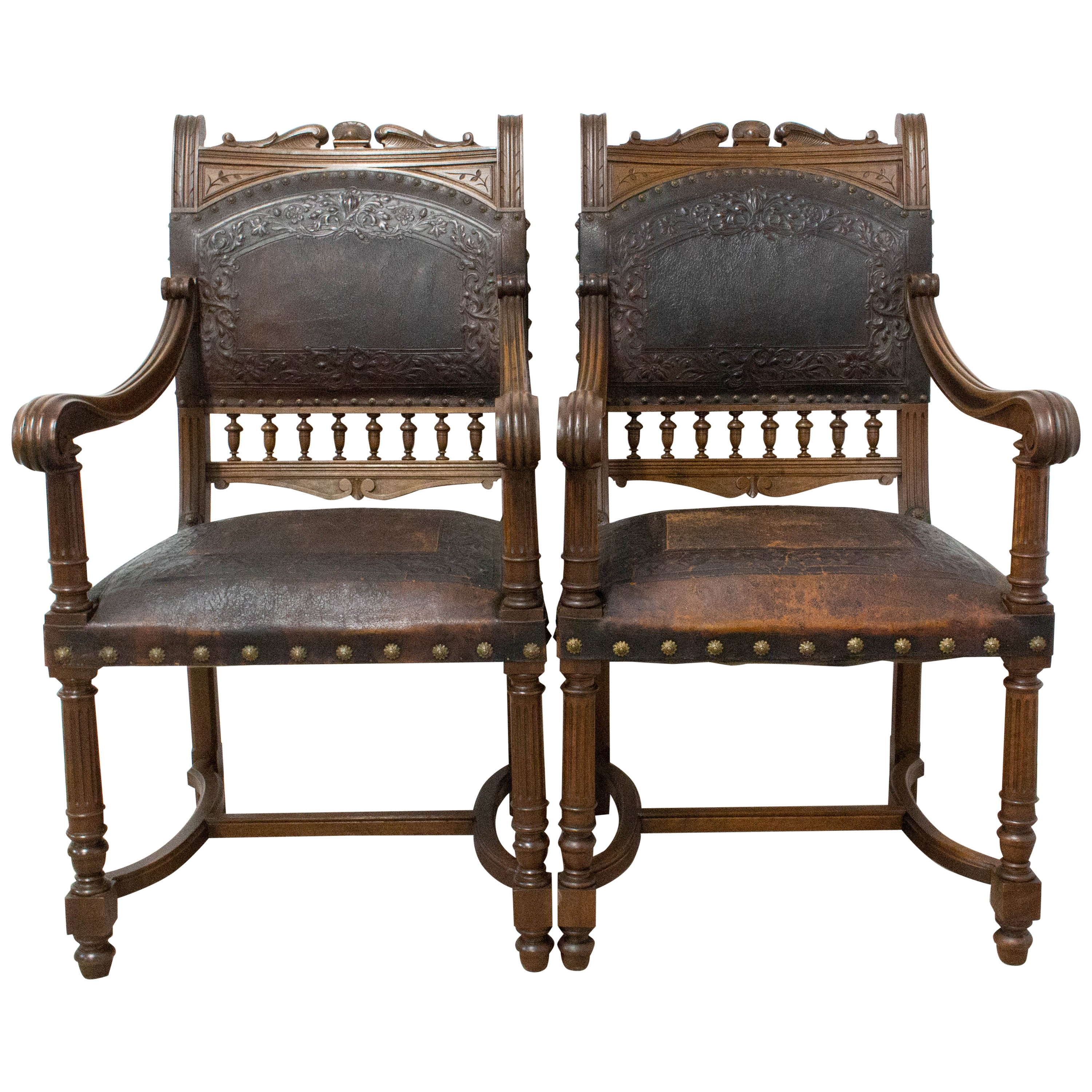 Pair of Louis XIII Style Armchairs, Late 19th Century