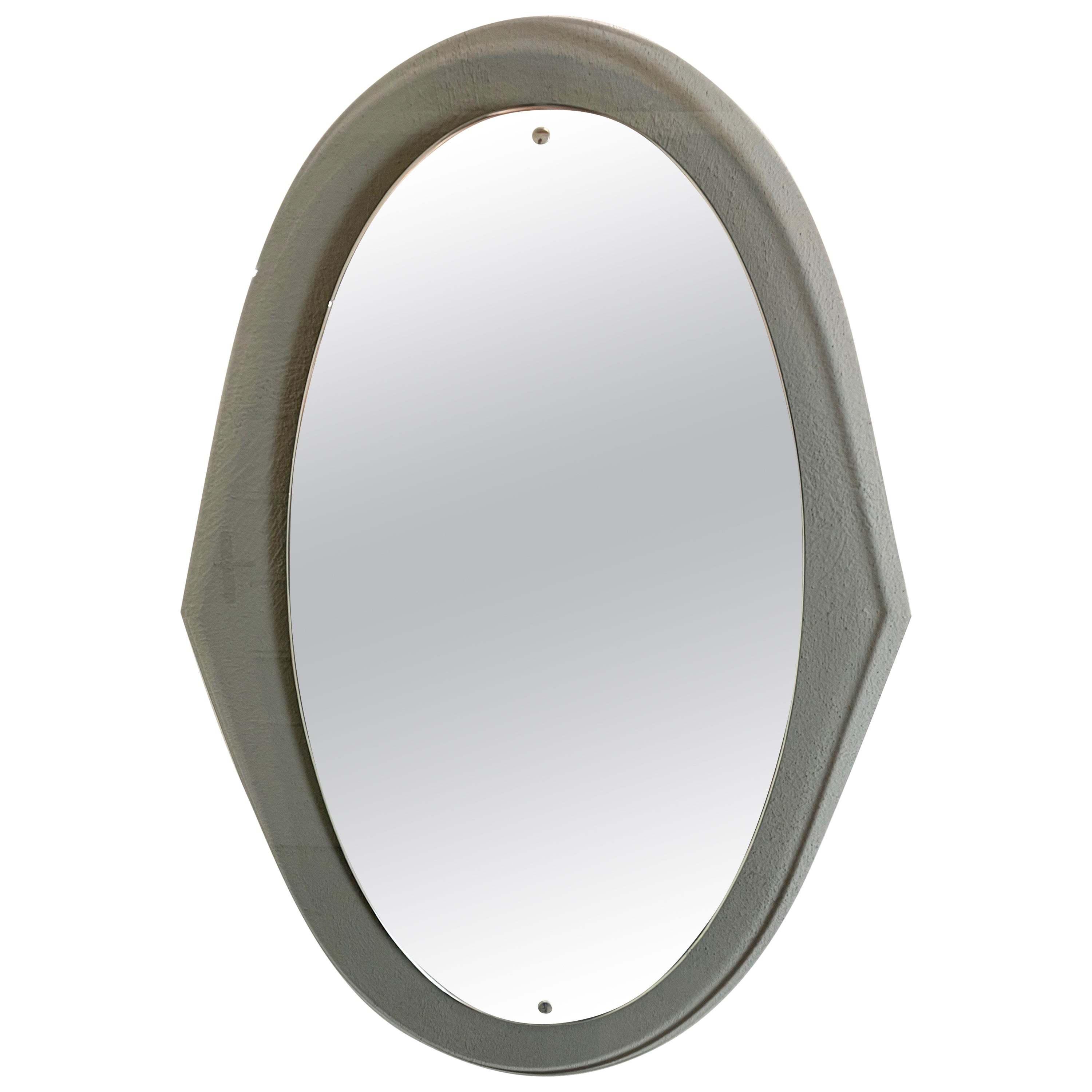 Oval Wall Mirror Attributed to Cristal Arte, Italy, 1960s