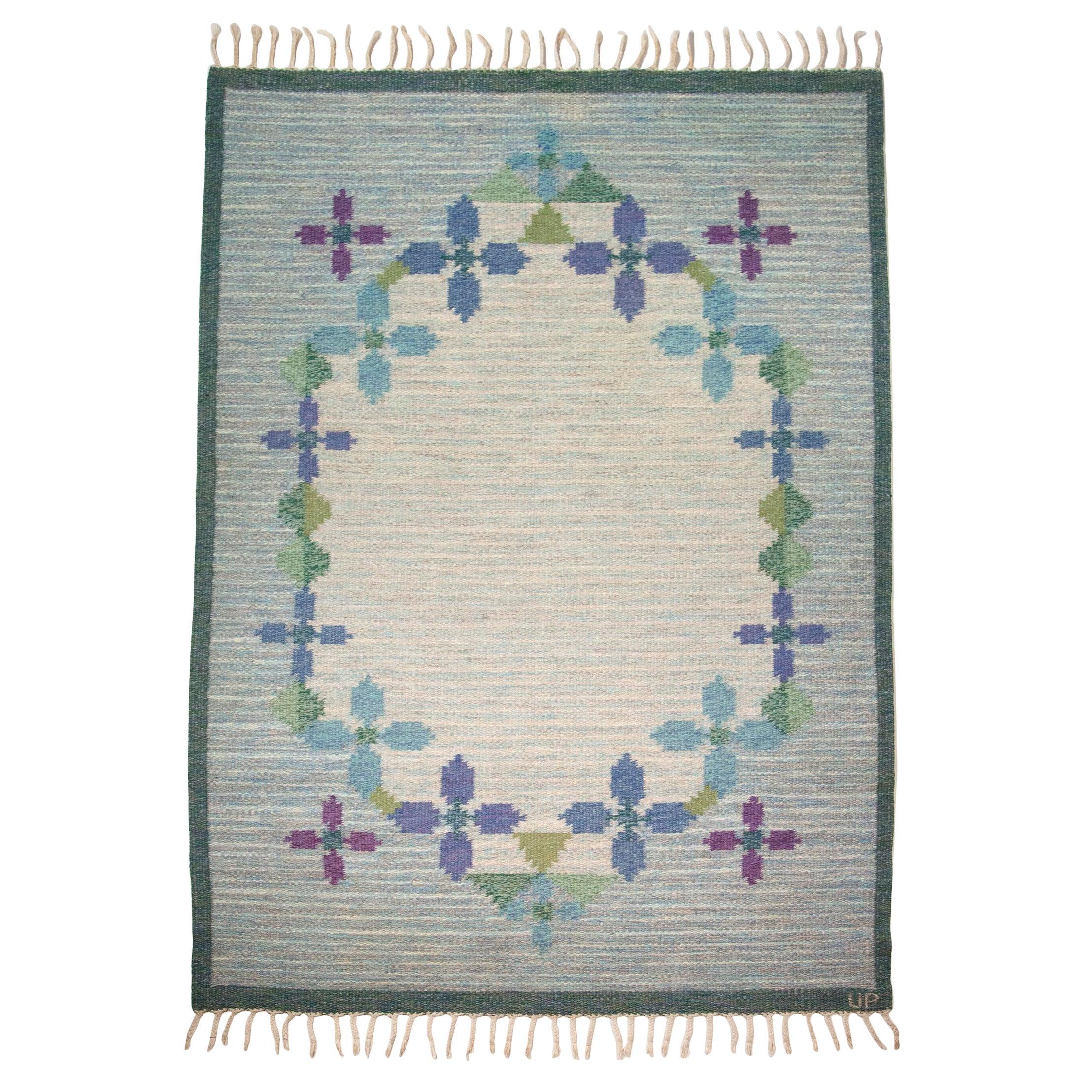 Ulla Parkdah Swedish Flat-Weave Rug, Signed UP, Sweden, 1960s