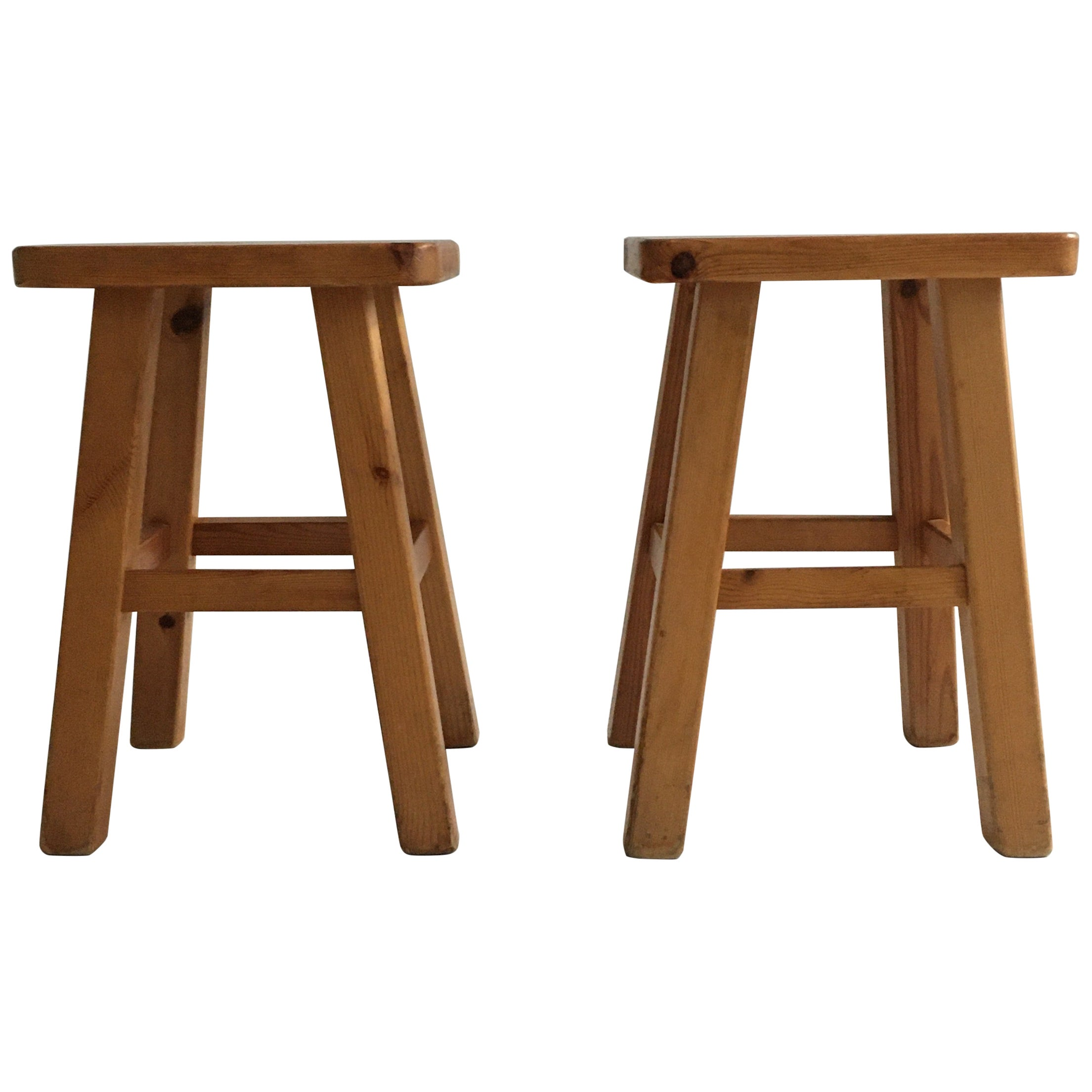 Charlotte Perriand Pair of Square Pine Stools, France, 1960s