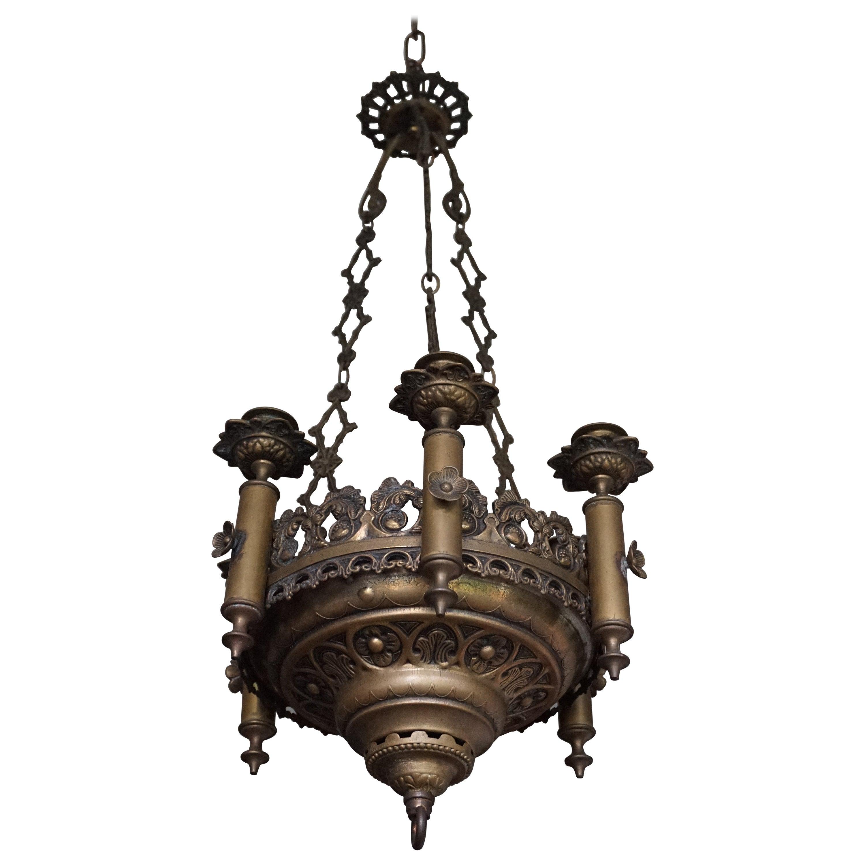 Small & Wonderful Bronze & Brass Gothic Revival Church Pendant Six Candle Light