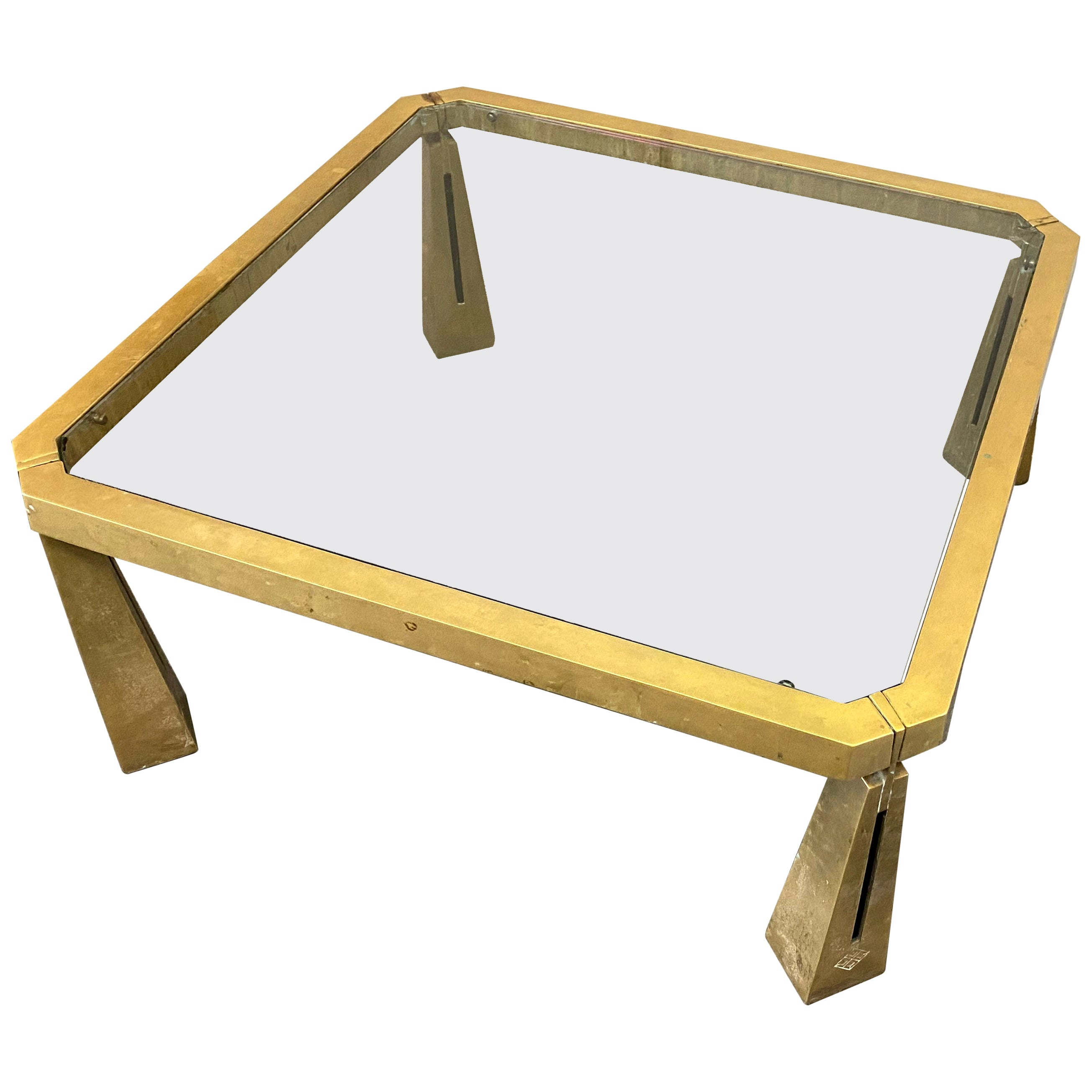Glass Coffee Table by Peter Ghyczy, Glass Top on Brass Frame