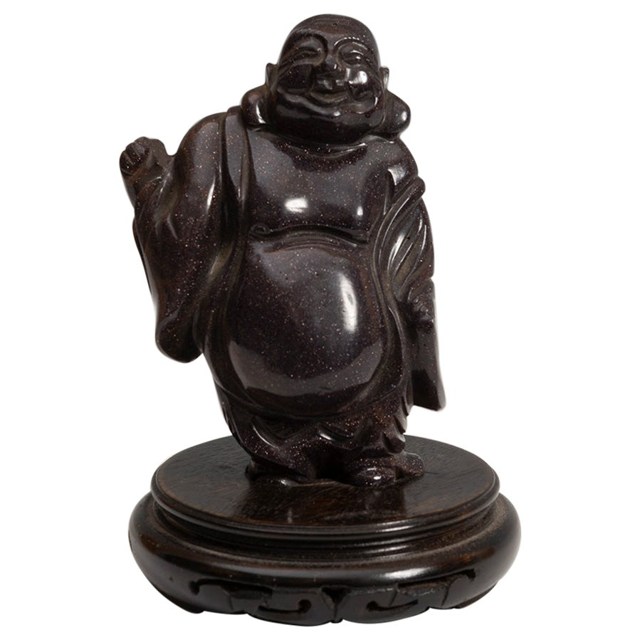 20th Century Chinese Laughing Buddha Hard Stone Figure Sculpture