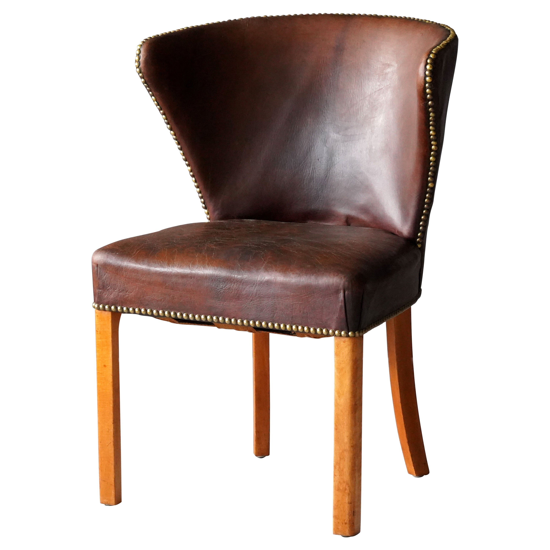 Fritz Hansen, Early Side Chair, Original Leather, Brass Nails, Denmark, 1940s