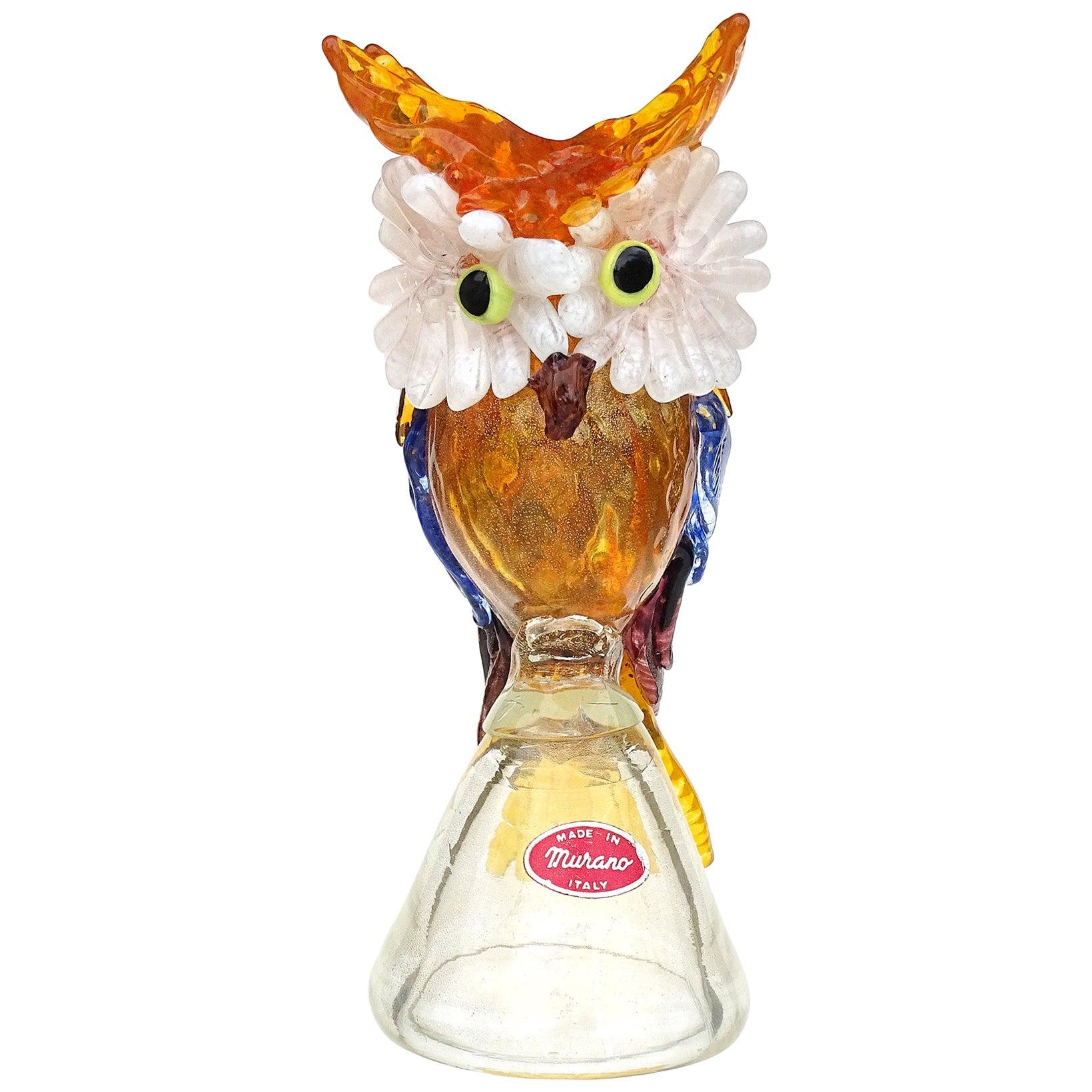 A.Ve.M. Murano Gold Flecks Applied Feather Italian Art Glass Owl Bird Sculpture