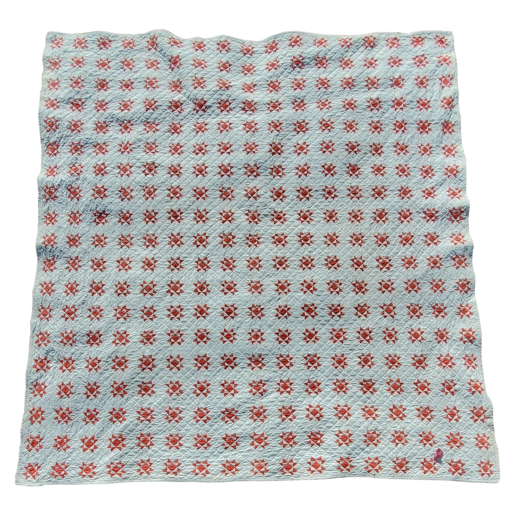 19th Century Mini Stars Red and White Quilt