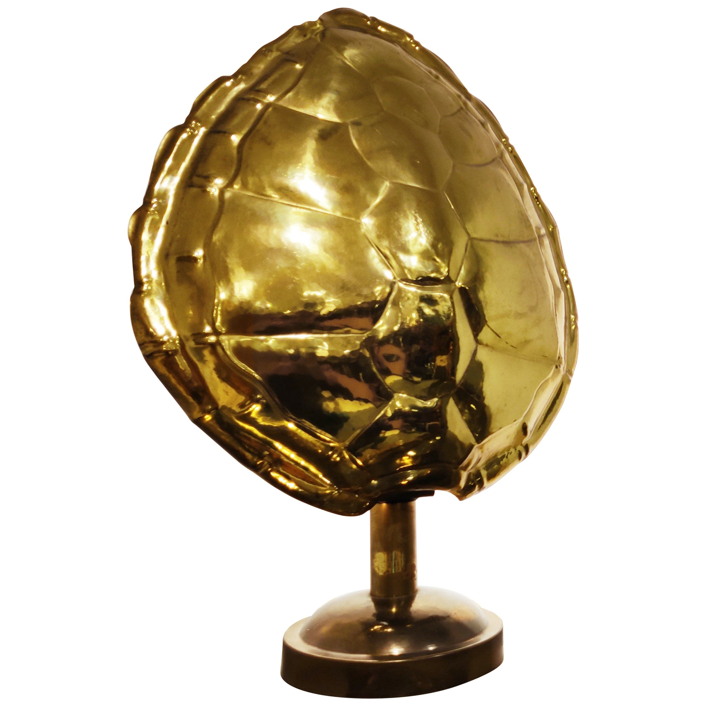 Brass Tortoise Shell Table Lamp, 1970s