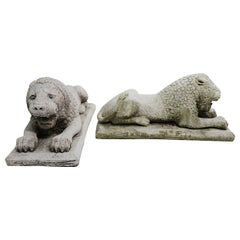 Pair of Cast Plaster Recumbent Entrance Way Garden Lions