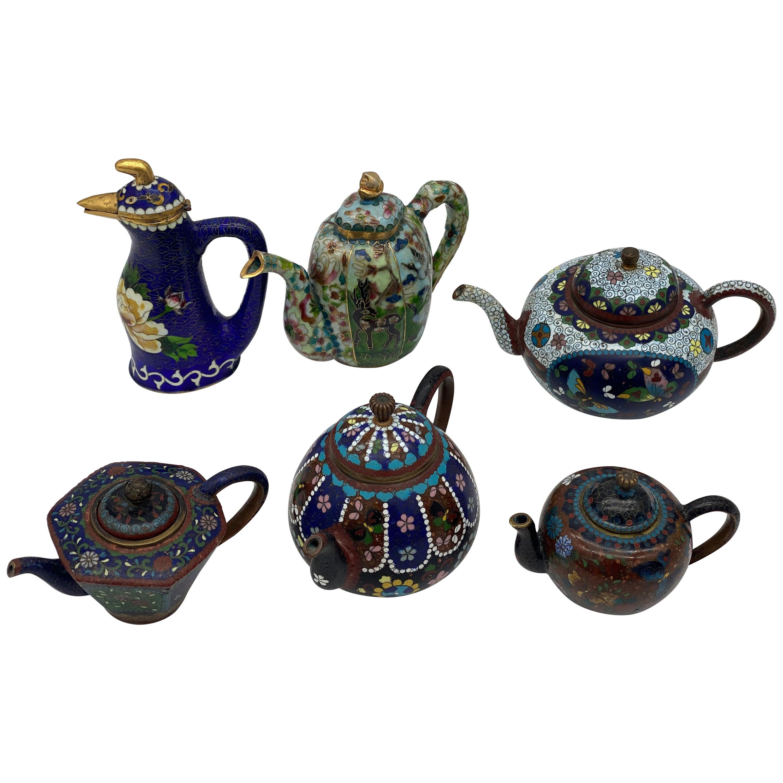 6 Antique Chinese Cloisonne Teapots