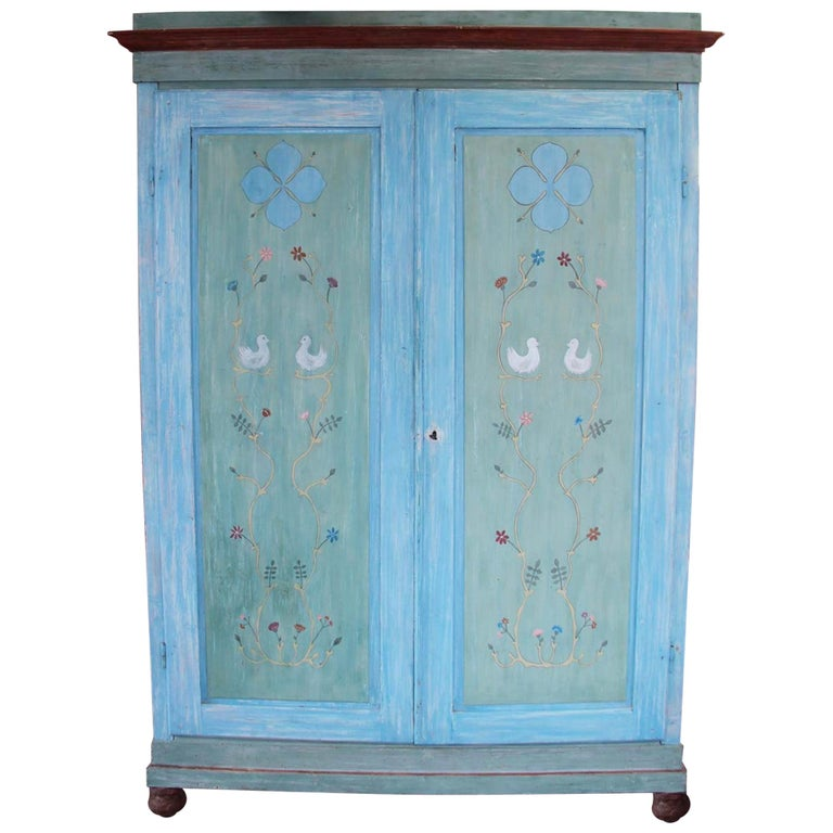 19th Century Hand Painted Tuscan Wardrobe with Two Doors For Sale