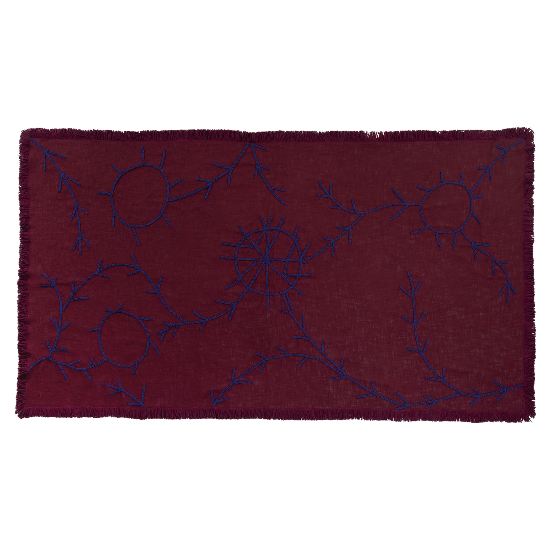 Trim, Hand Embroidered Burgundy Throw Blanket