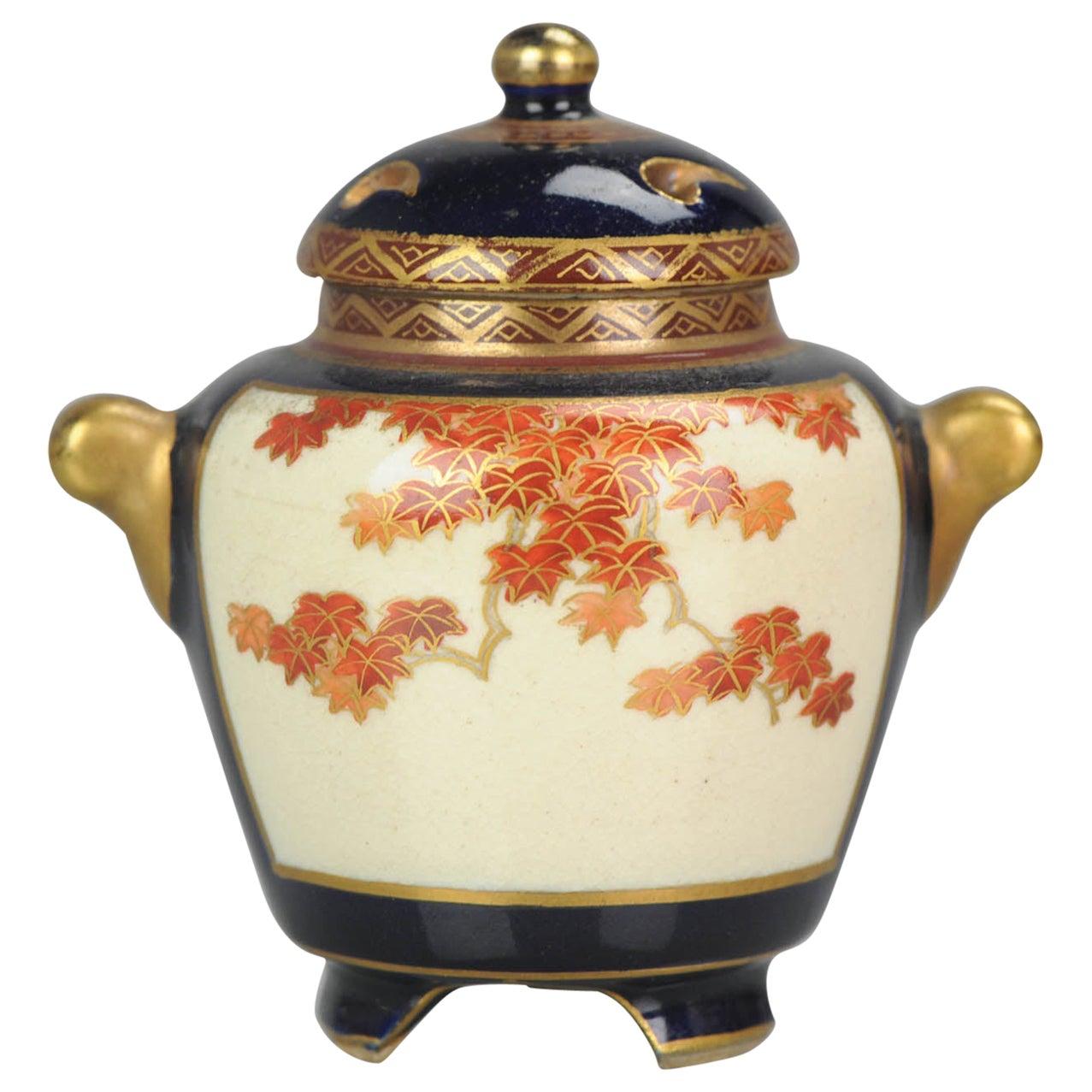 Antique Japanese Satsuma Mini Koro Incense Burner Japan Meiji Period