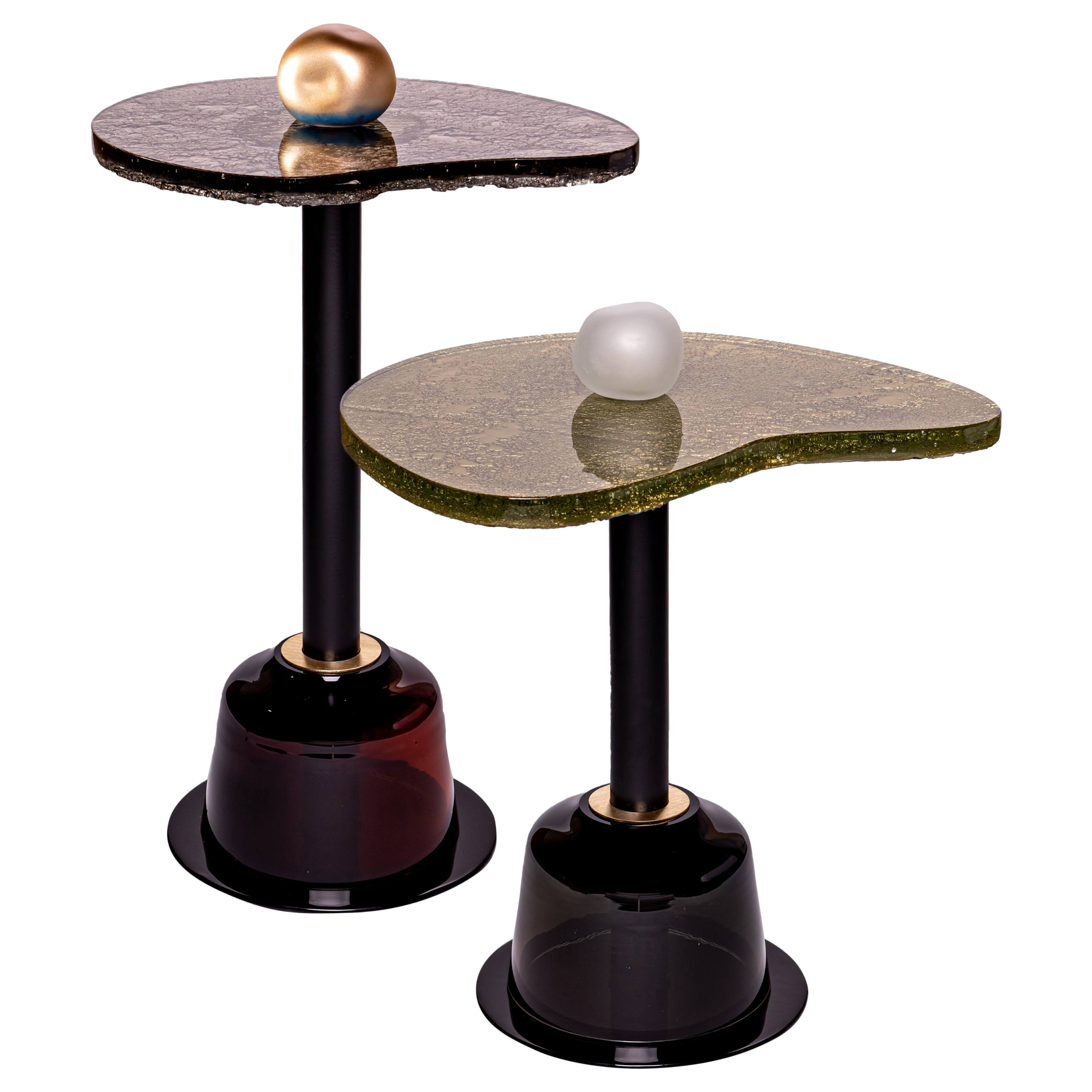 """Modern Round Side and Coffee Tables """"Fables- Autumn"""" Murano Glass Gold, Brown"""