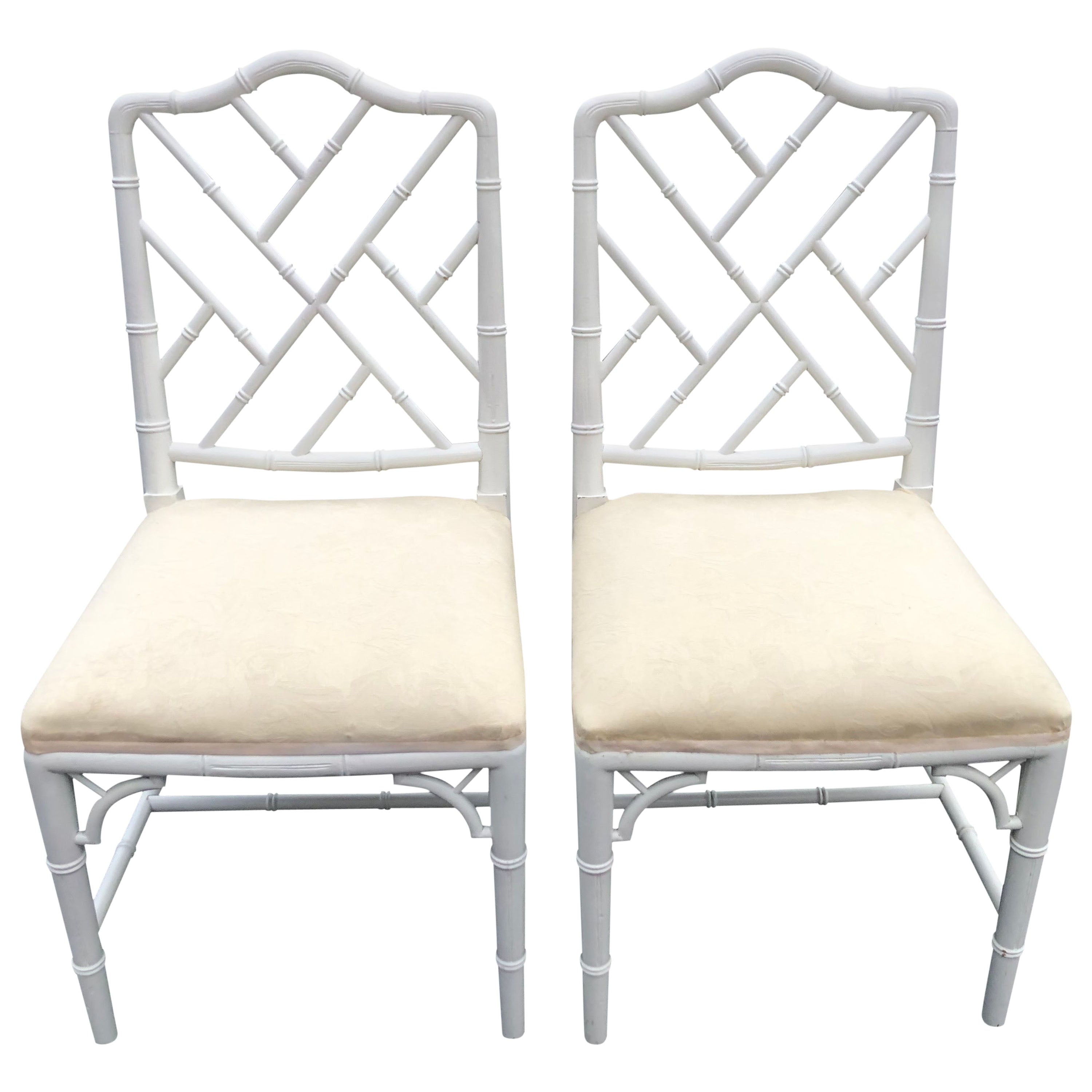 Pair of White Faux Bamboo Chinoiserie Chairs