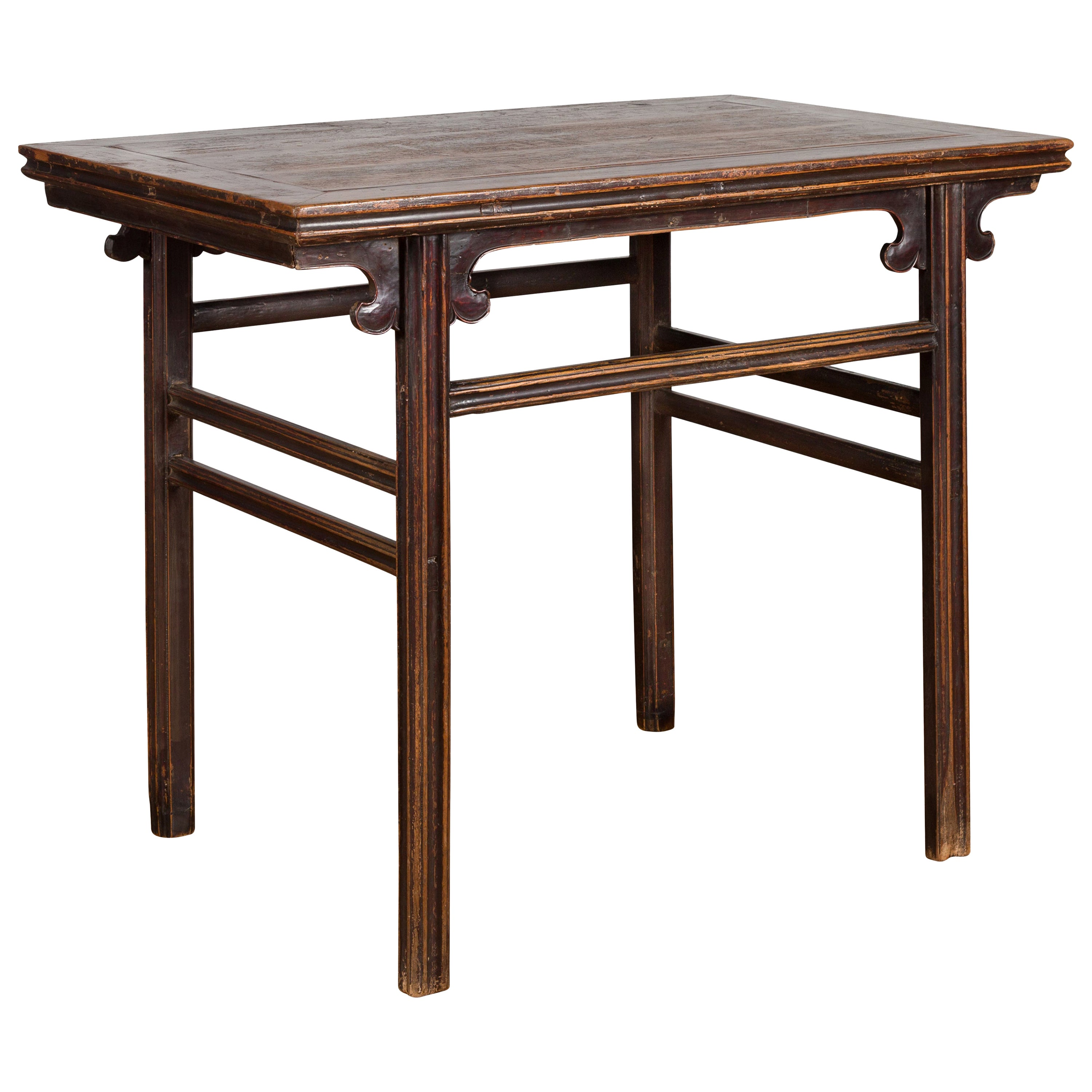 Chinese Ming Dynasty Style 19th Century Wine Table with Carved Cloudy Spandrels