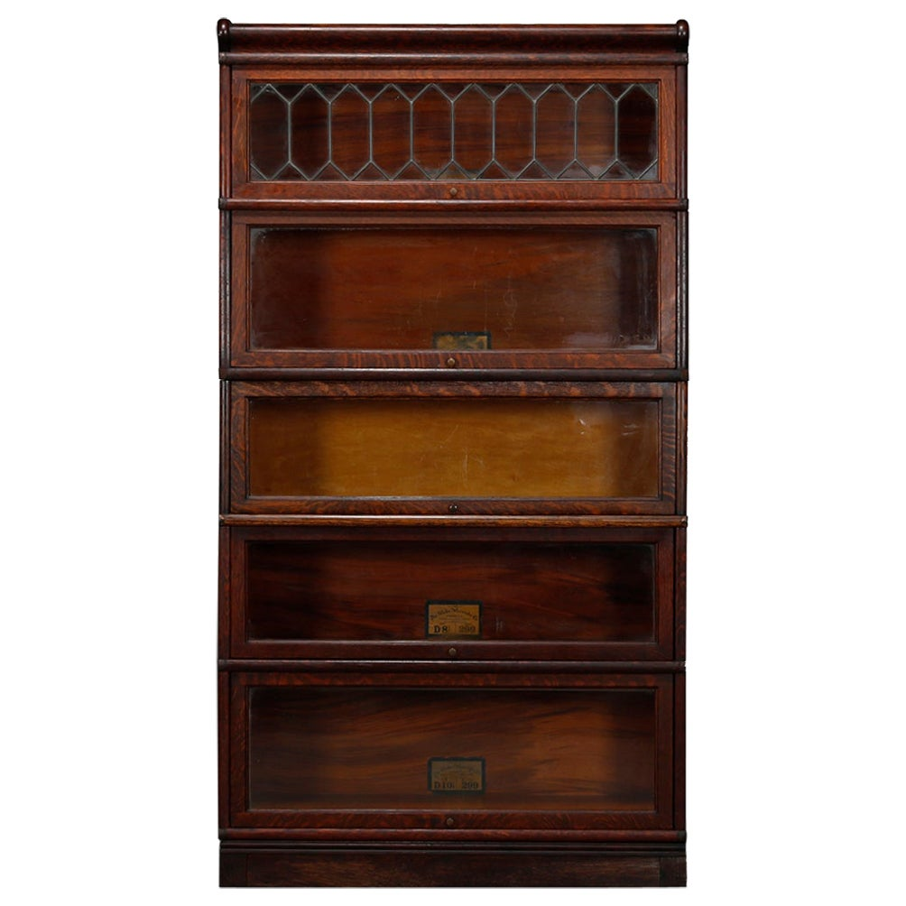Antique Arts & Crafts Oak Leaded Glass Globe Wernicke Barrister Bookcase